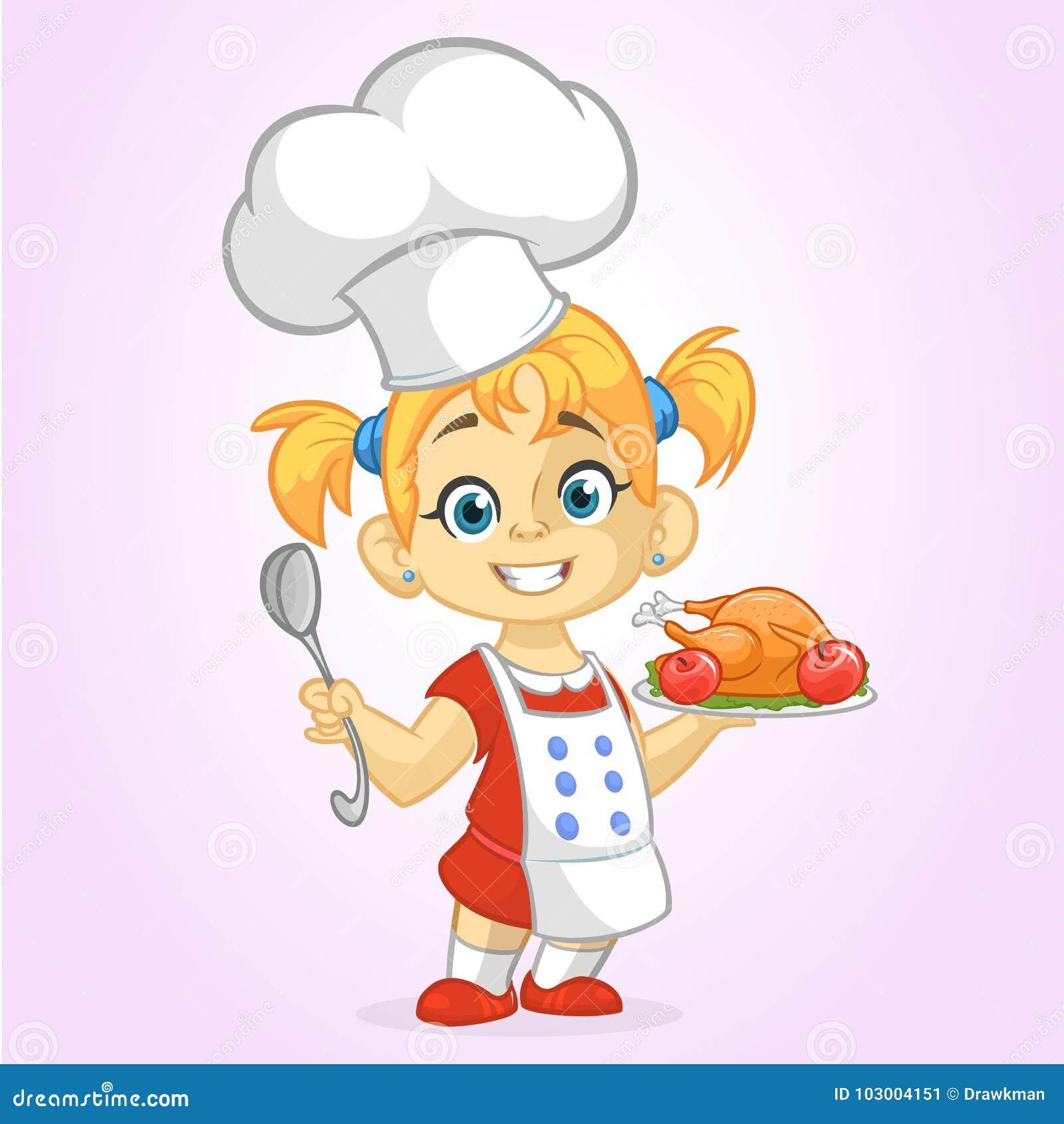 Kreskówki śliczna mała blond dziewczyna w fartucha i szefa kuchni ` s kapeluszowej porci piec dziękczynienie indyka