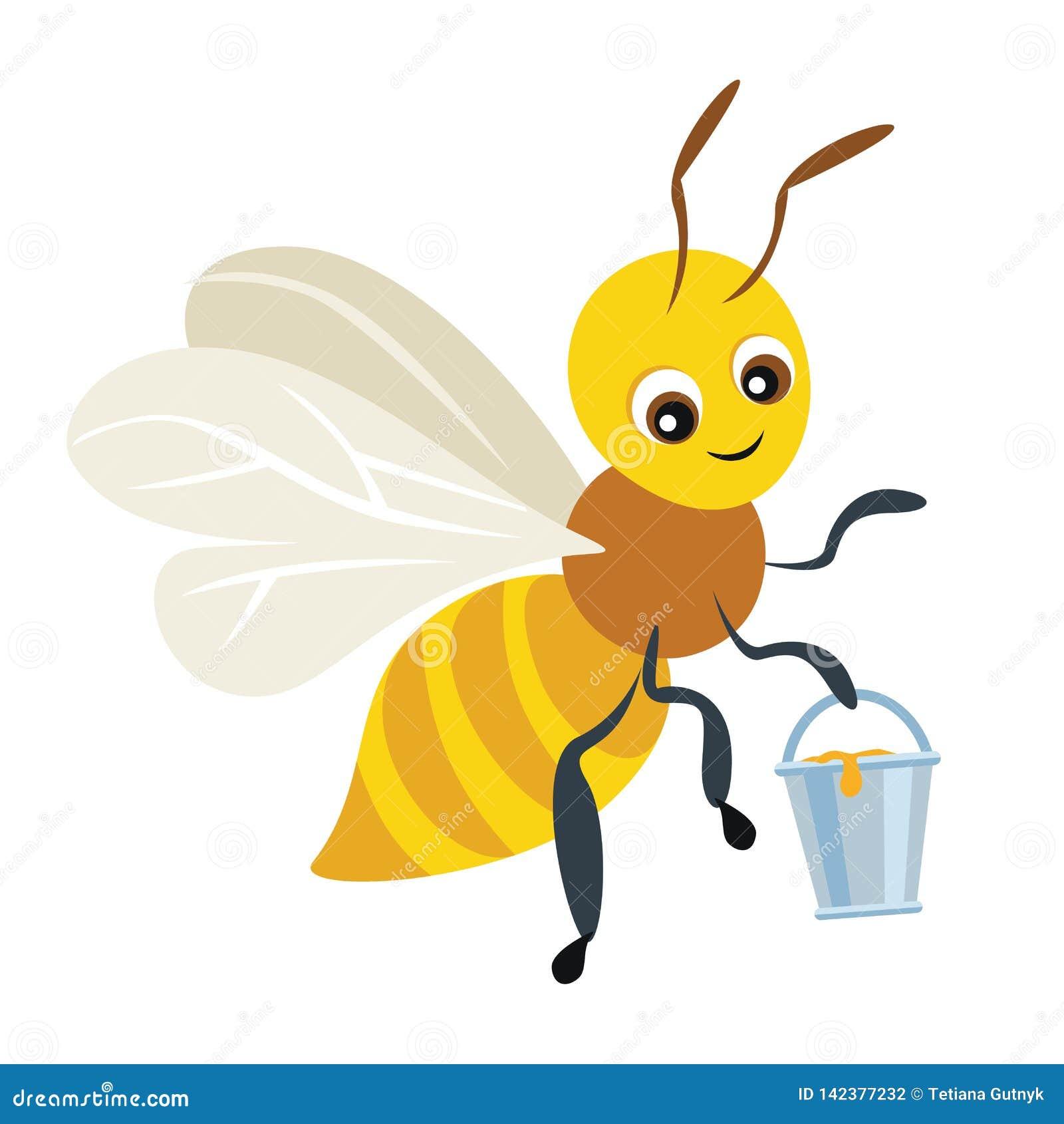 Kreskówki śliczna pszczoła z wiadrem pełno miód