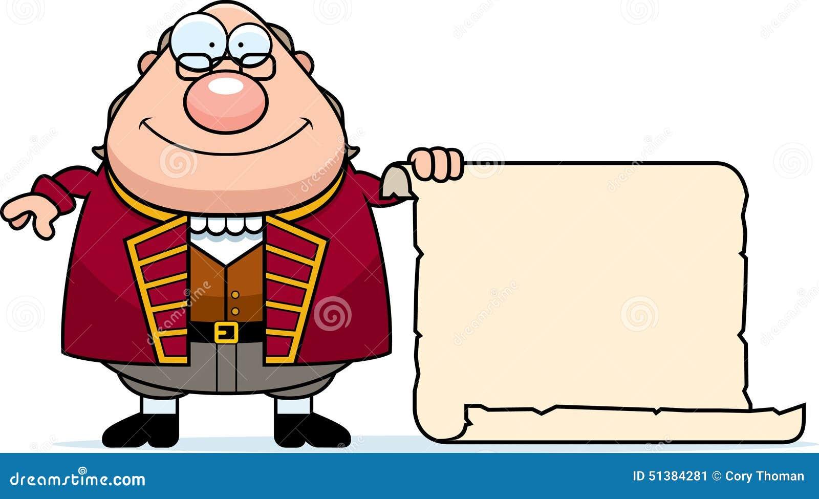 Kreskówki Ben Franklin pergamin
