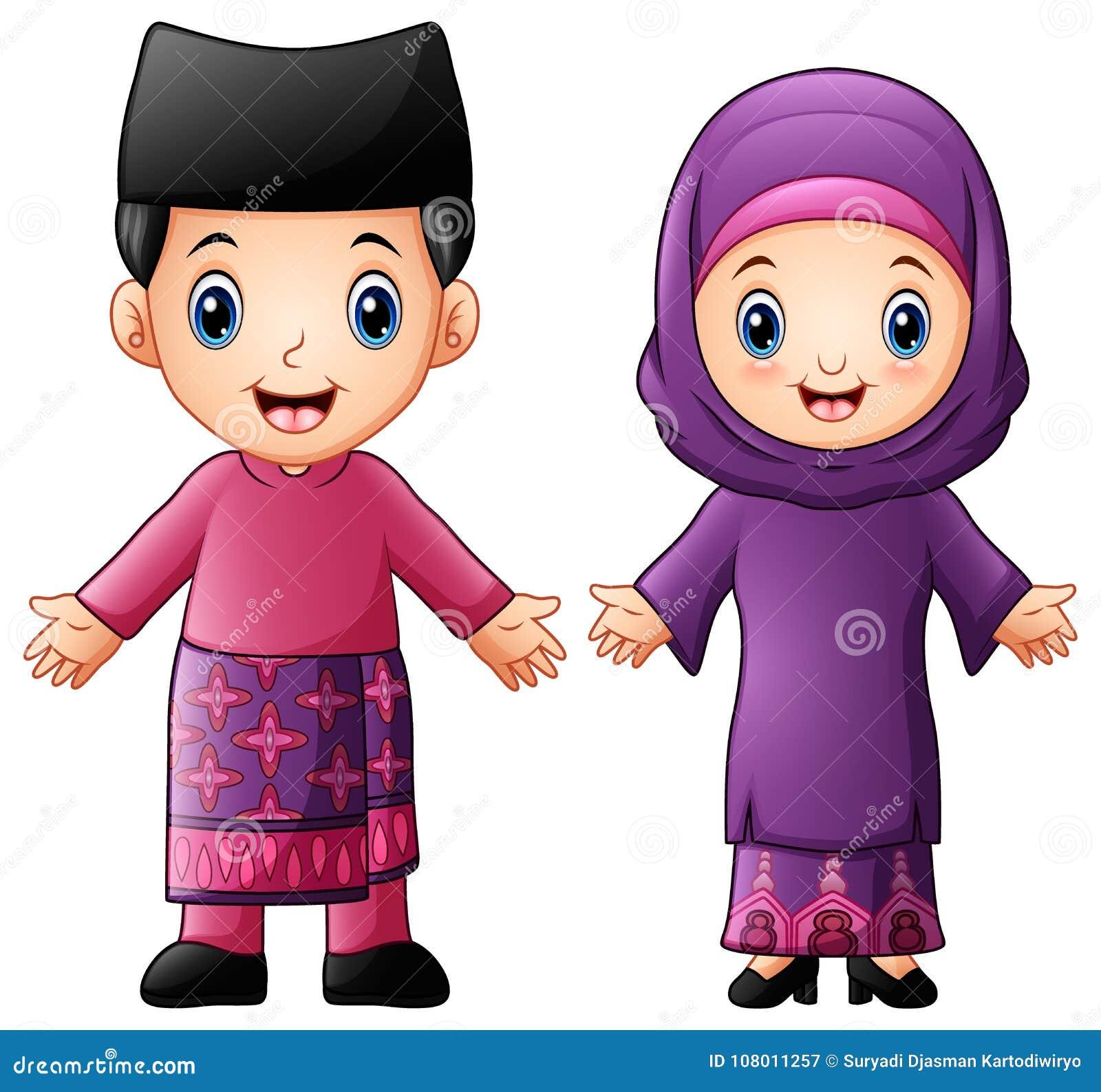 Kreskówki Brunei para jest ubranym tradycyjnych kostiumy