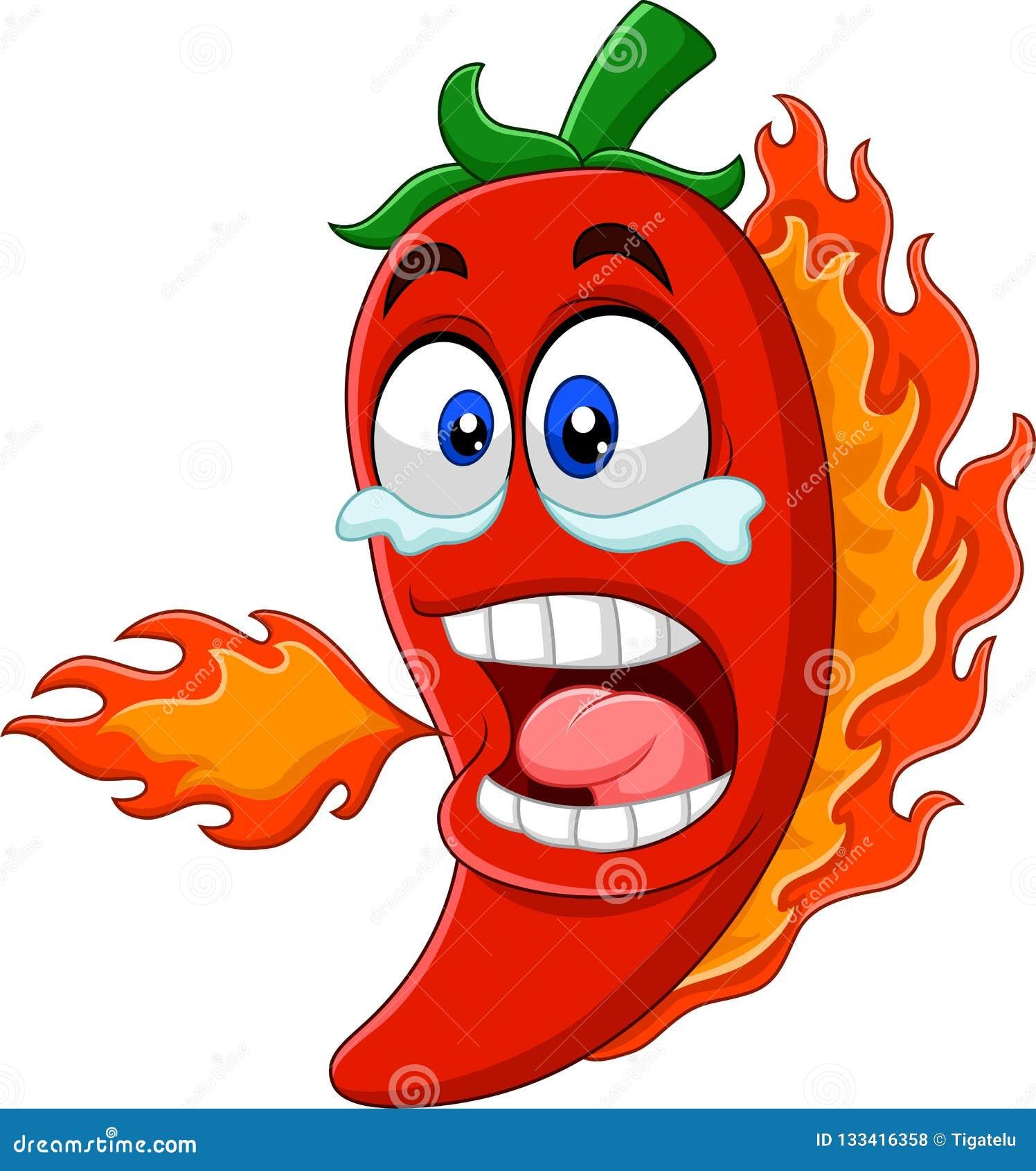Kreskówki chili pieprzu oddychania ogień
