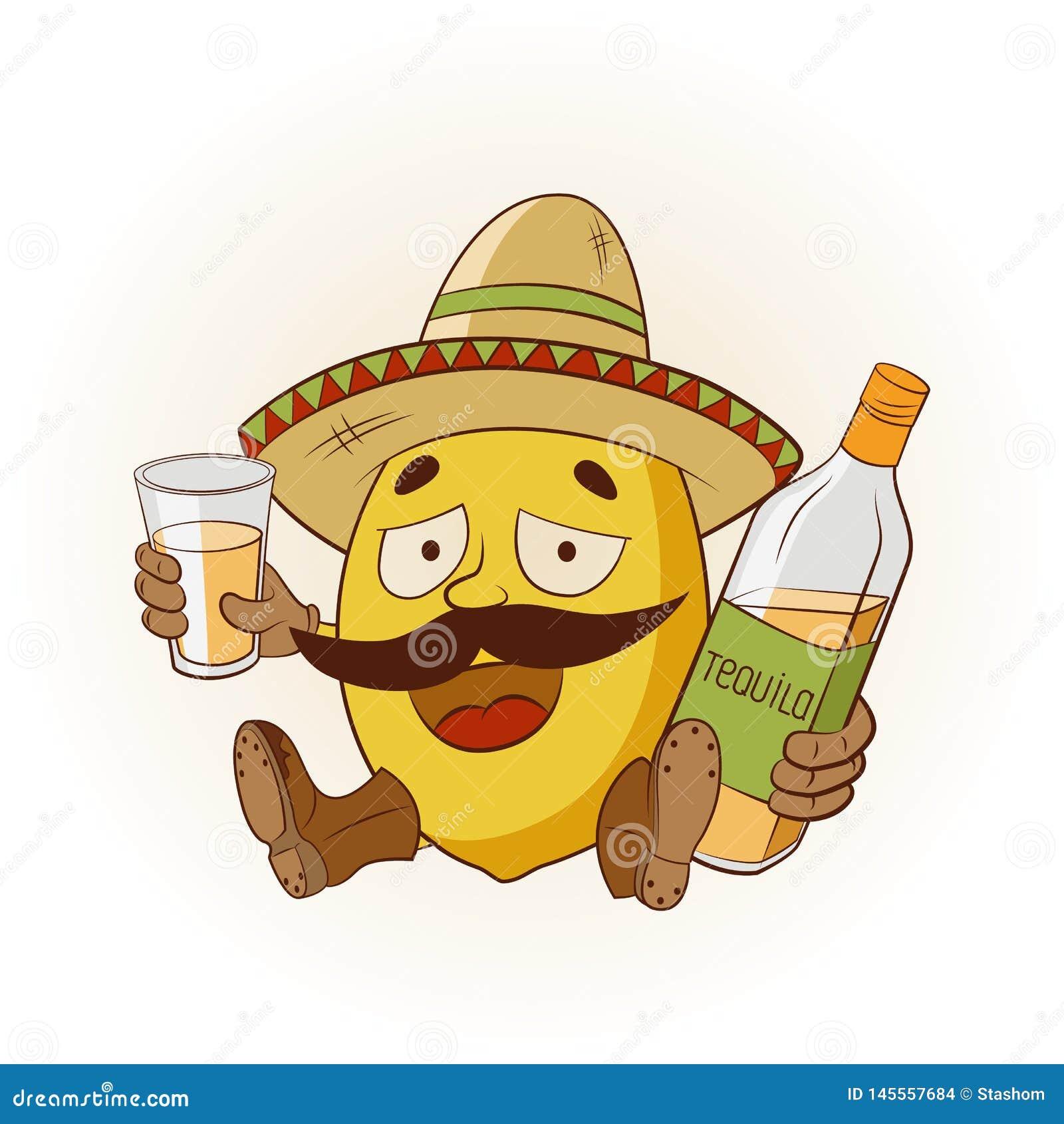 Kreskówki cytryna w sombrero i butach pije tequila r?wnie? zwr?ci? corel ilustracji wektora