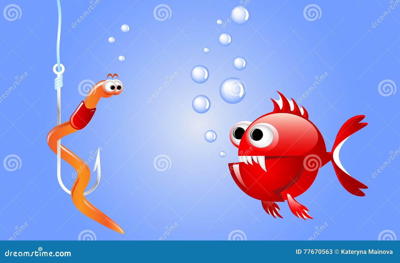 Kreskówki czerwieni zła ryba patrzeje dżdżownicy na połowu haczyku podwodnym z bąblami
