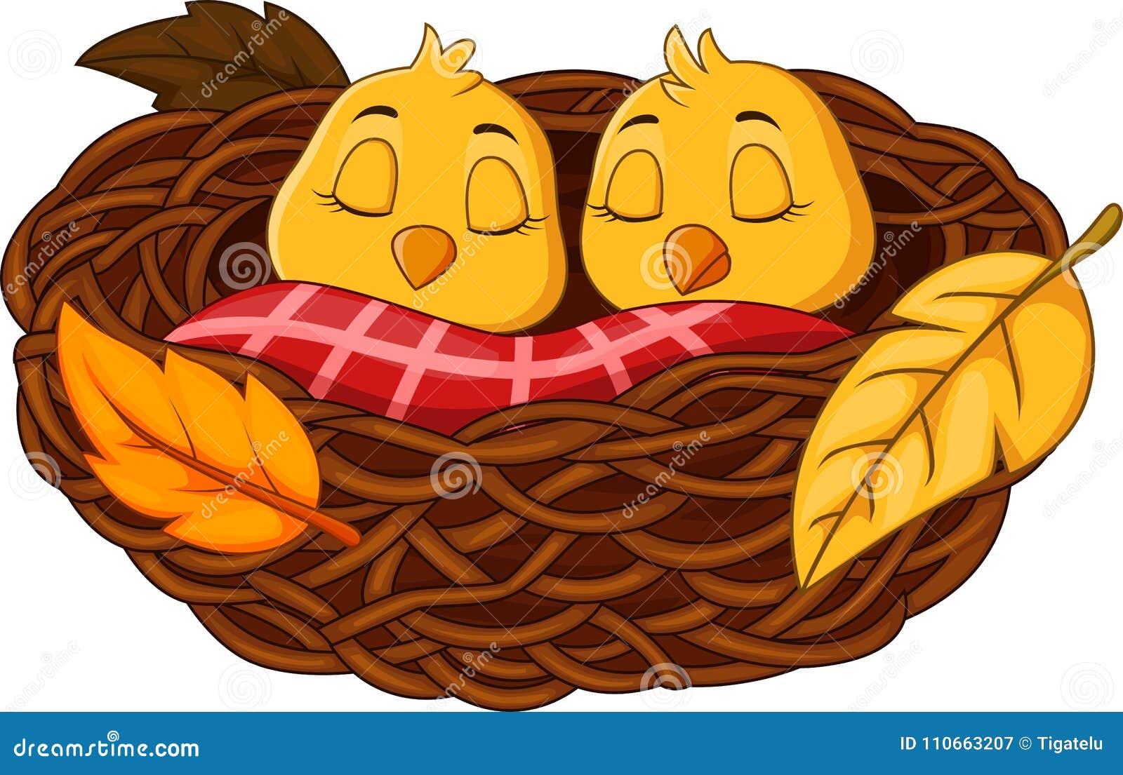 Kreskówki dziecka ptaka dosypianie w gniazdeczku