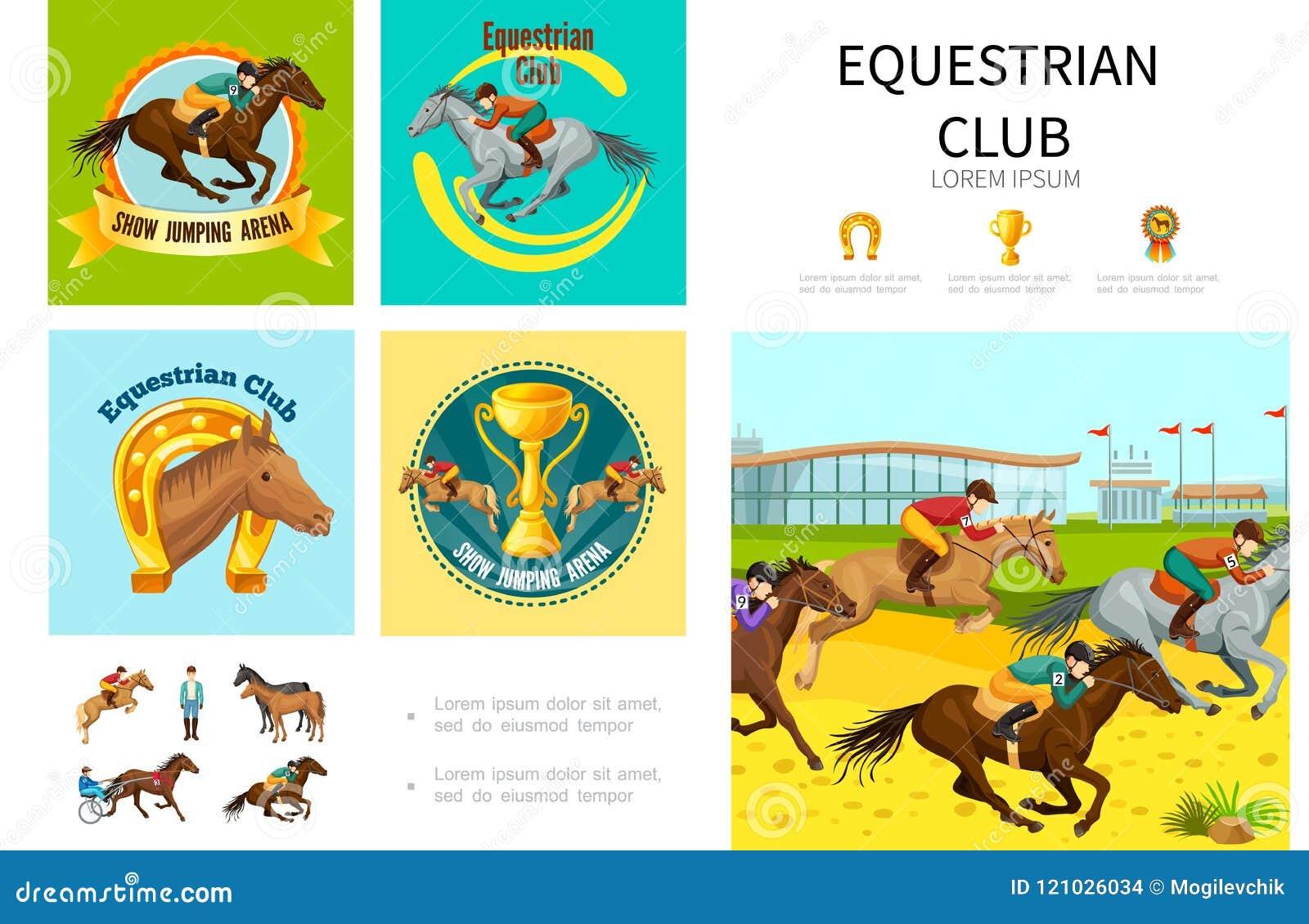Kreskówki Equestrian sporta Infographic pojęcie
