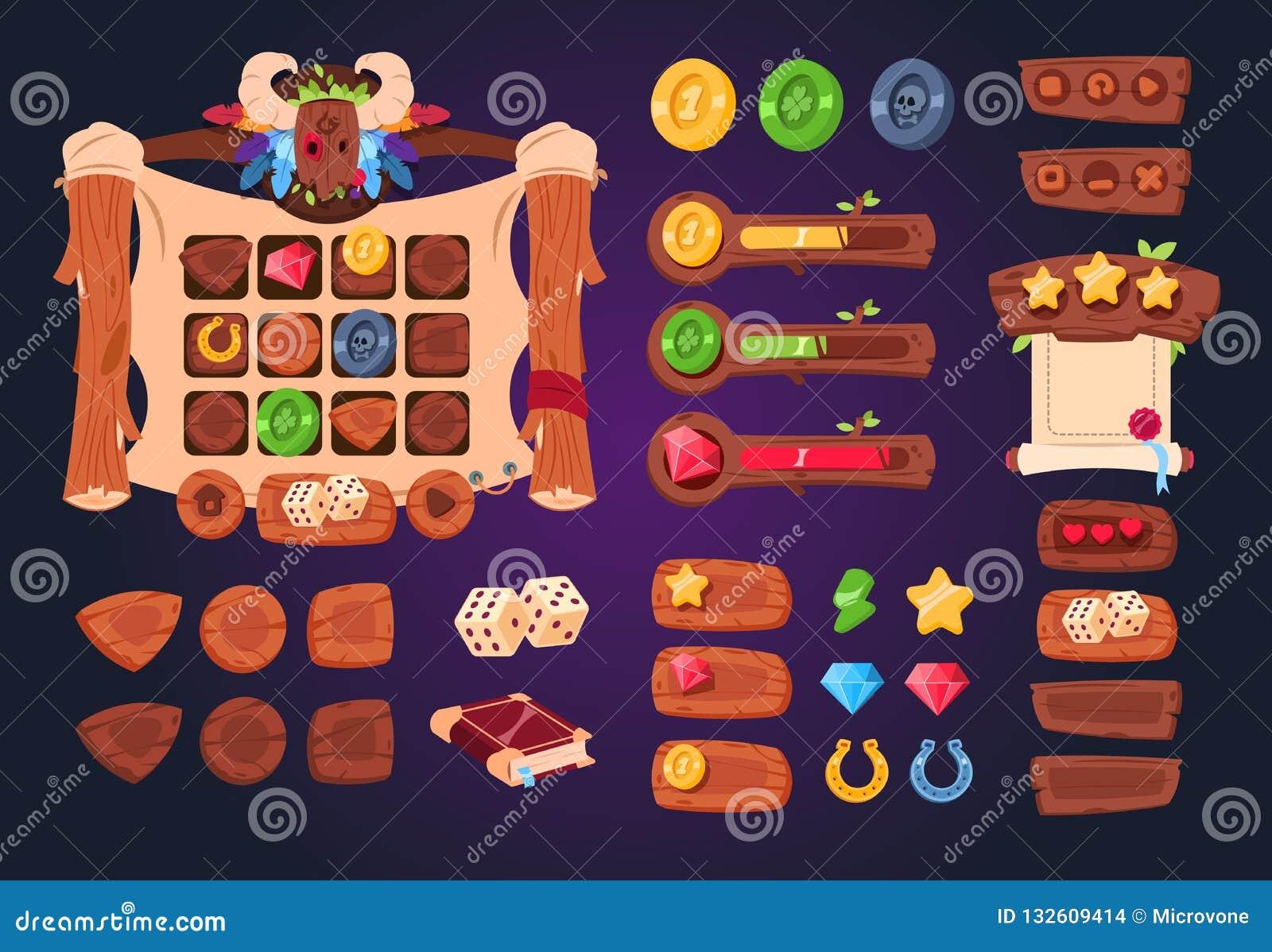 Kreskówki gry ui Drewniani guziki, suwaki i ikony, Interfejs dla 2d gier, app gui wektorowy projekt