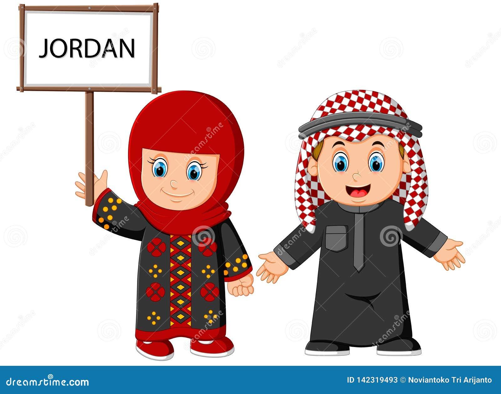 Kreskówki Jordanowska para jest ubranym tradycyjnych kostiumy