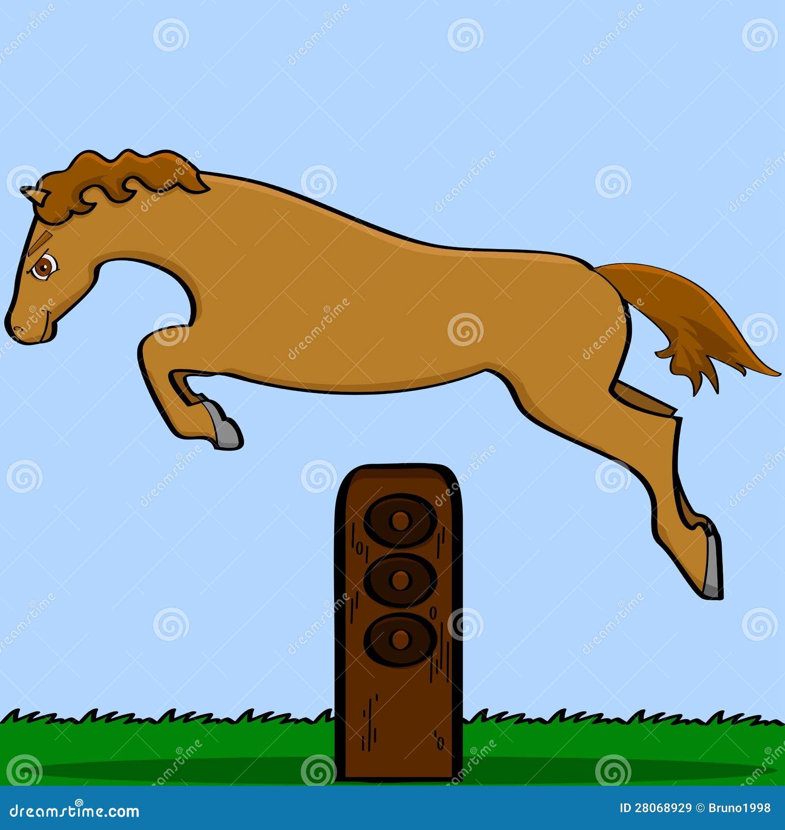 Kreskówki koński doskakiwanie nad przeszkodą