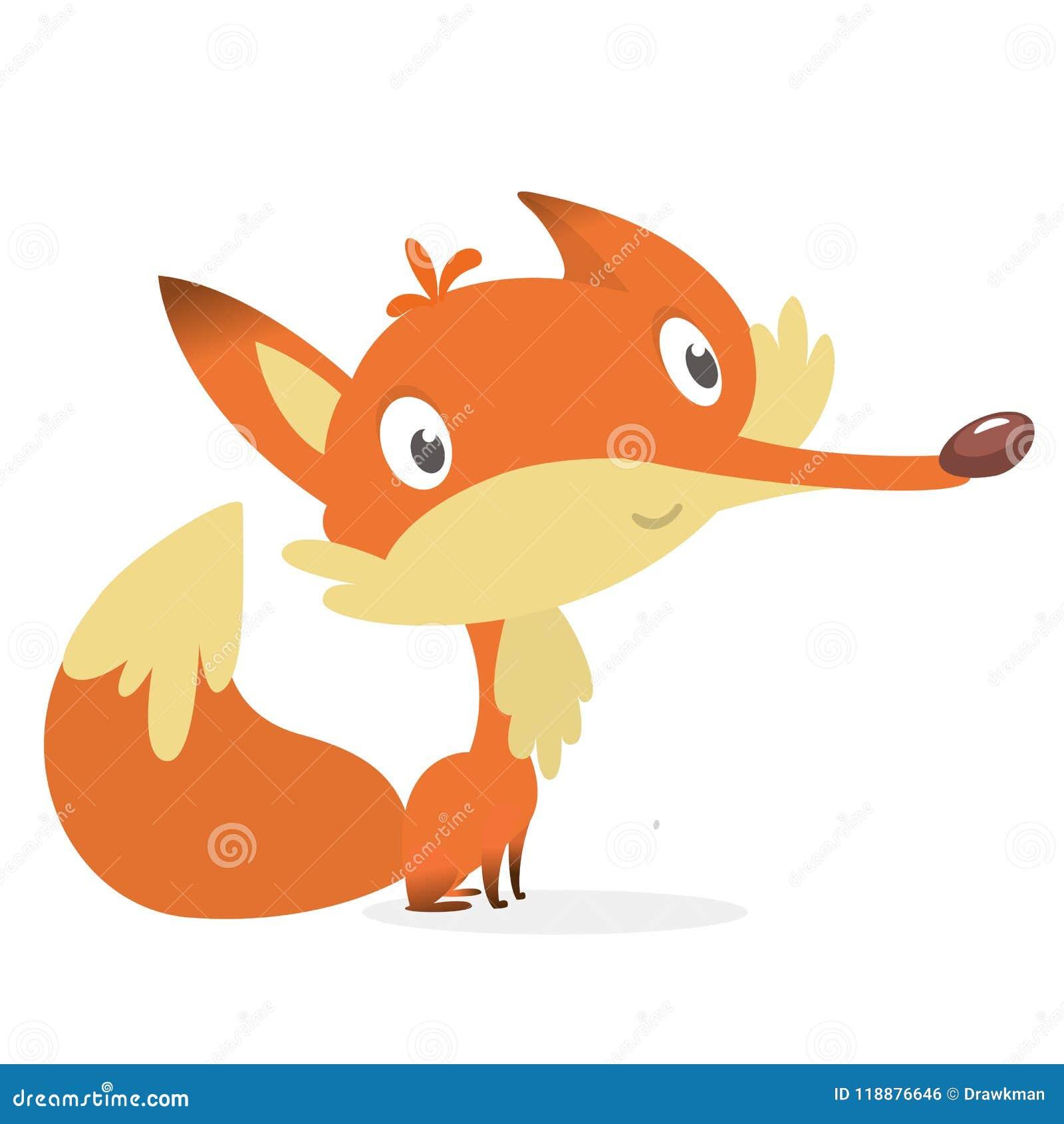 Kreskówki lisa czerwień Wektorowa ilustracja czerwona uśmiechnięta lis ikona