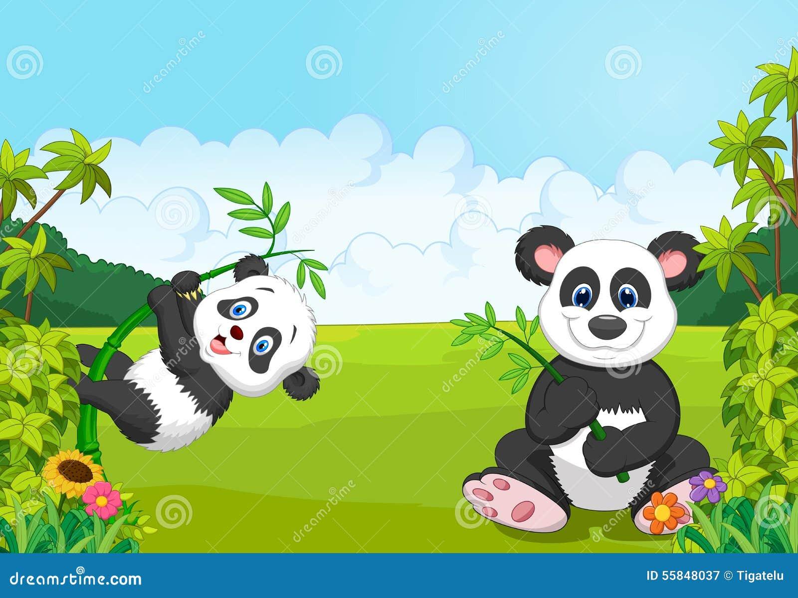 Kreskówki mama i dziecko pandy wspinaczkowy bambusowy drzewo