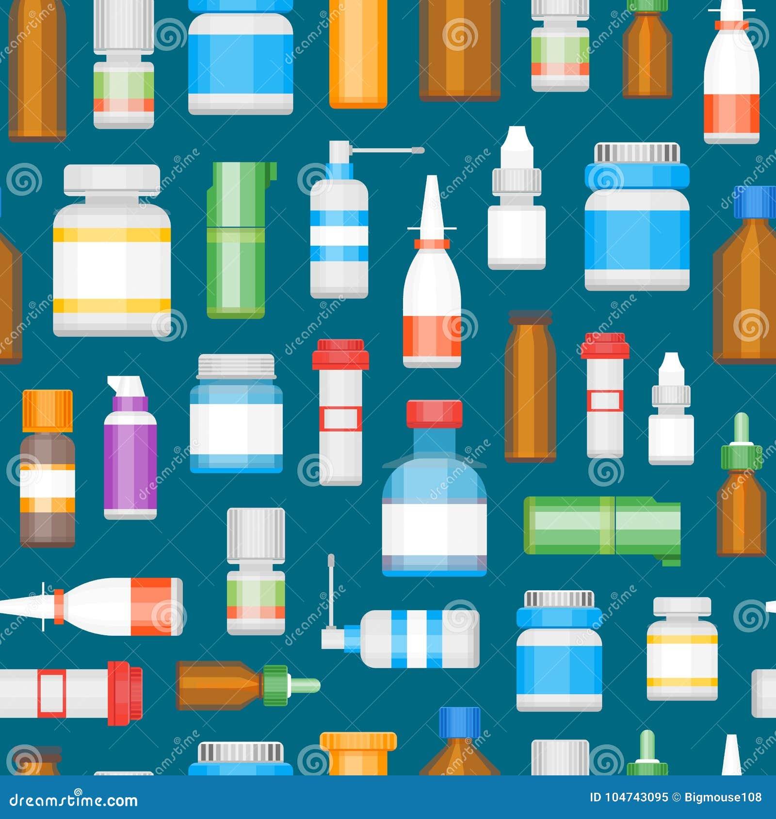 Kreskówki medycyny butelki dla leka tła wzoru wektor