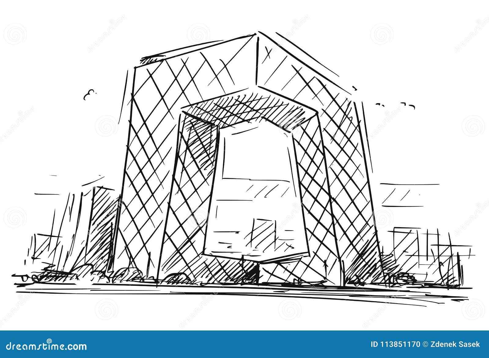 Kreskówki nakreślenie Porcelanowa centrala TV Lokuje budynek, Pekin, Chiny