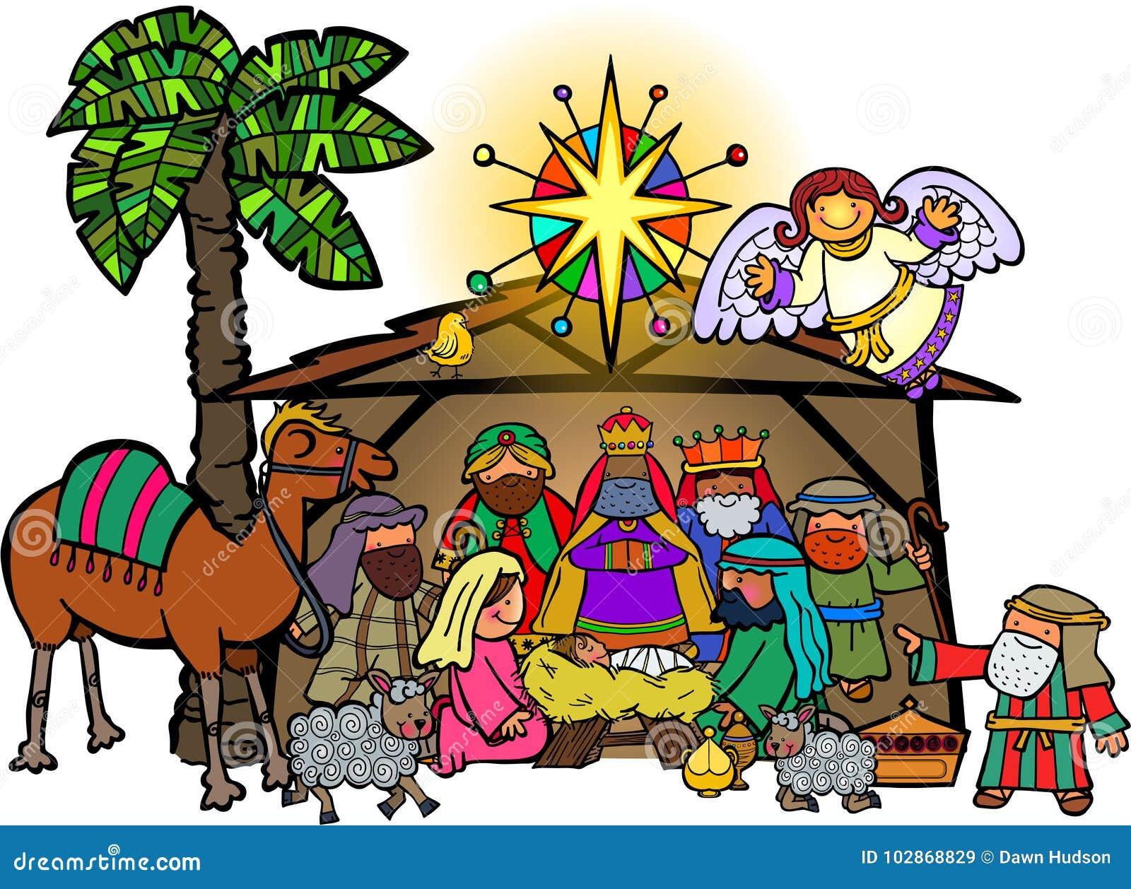 Kreskówki narodzenia jezusa Bożenarodzeniowa scena