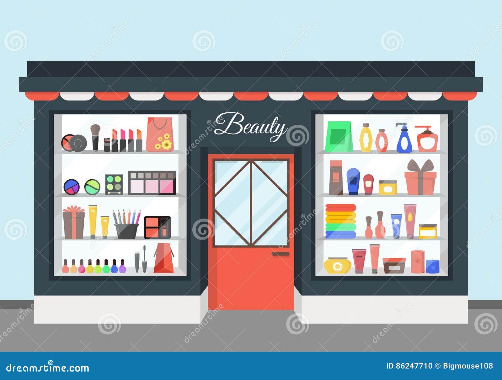 Kreskówki piękna kosmetyków sklep wektor