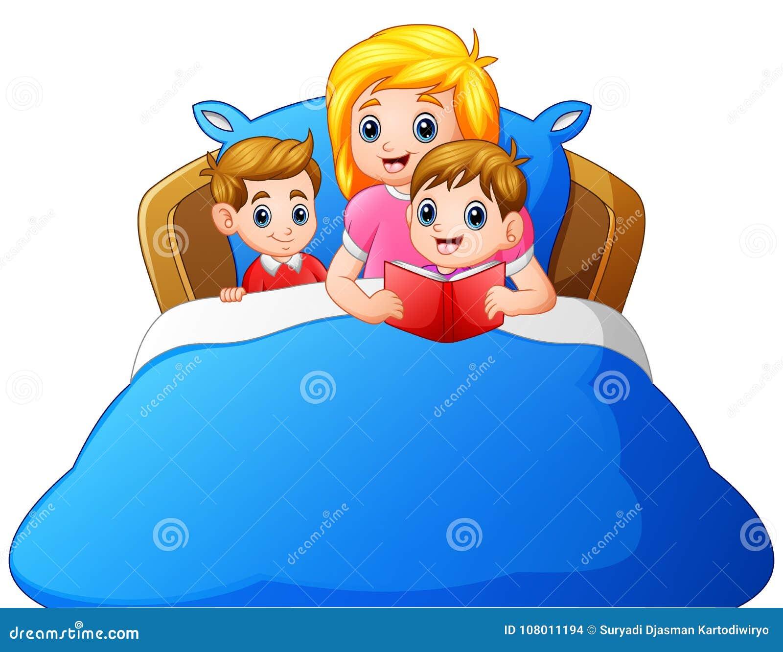Kreskówki pora snu macierzysta czytelnicza opowieść jej dziecko na łóżku