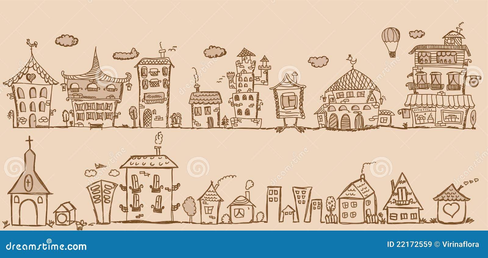 Kreskówki rysunku ręki domów wektor