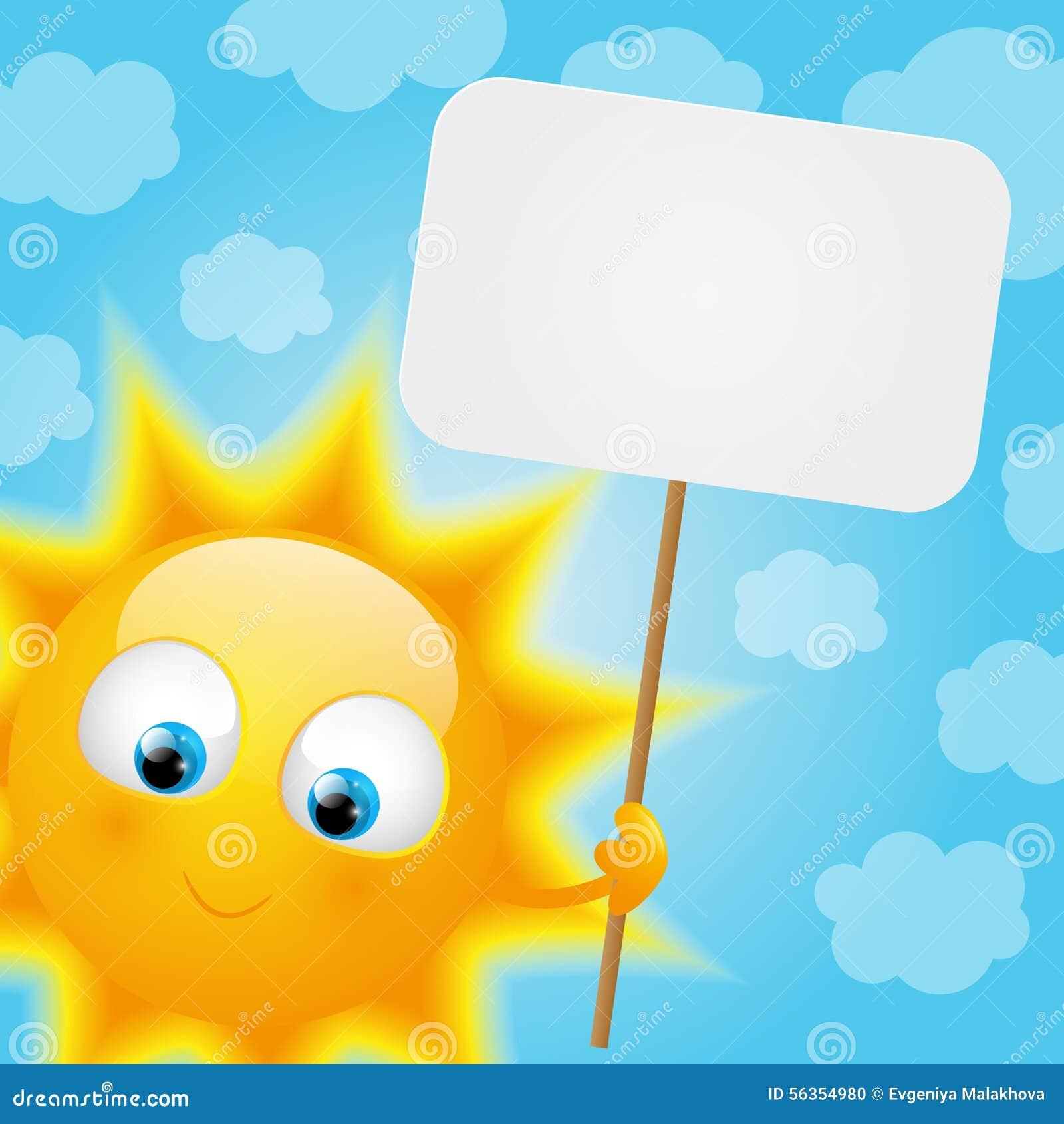Kreskówki słońce z papierową kartą