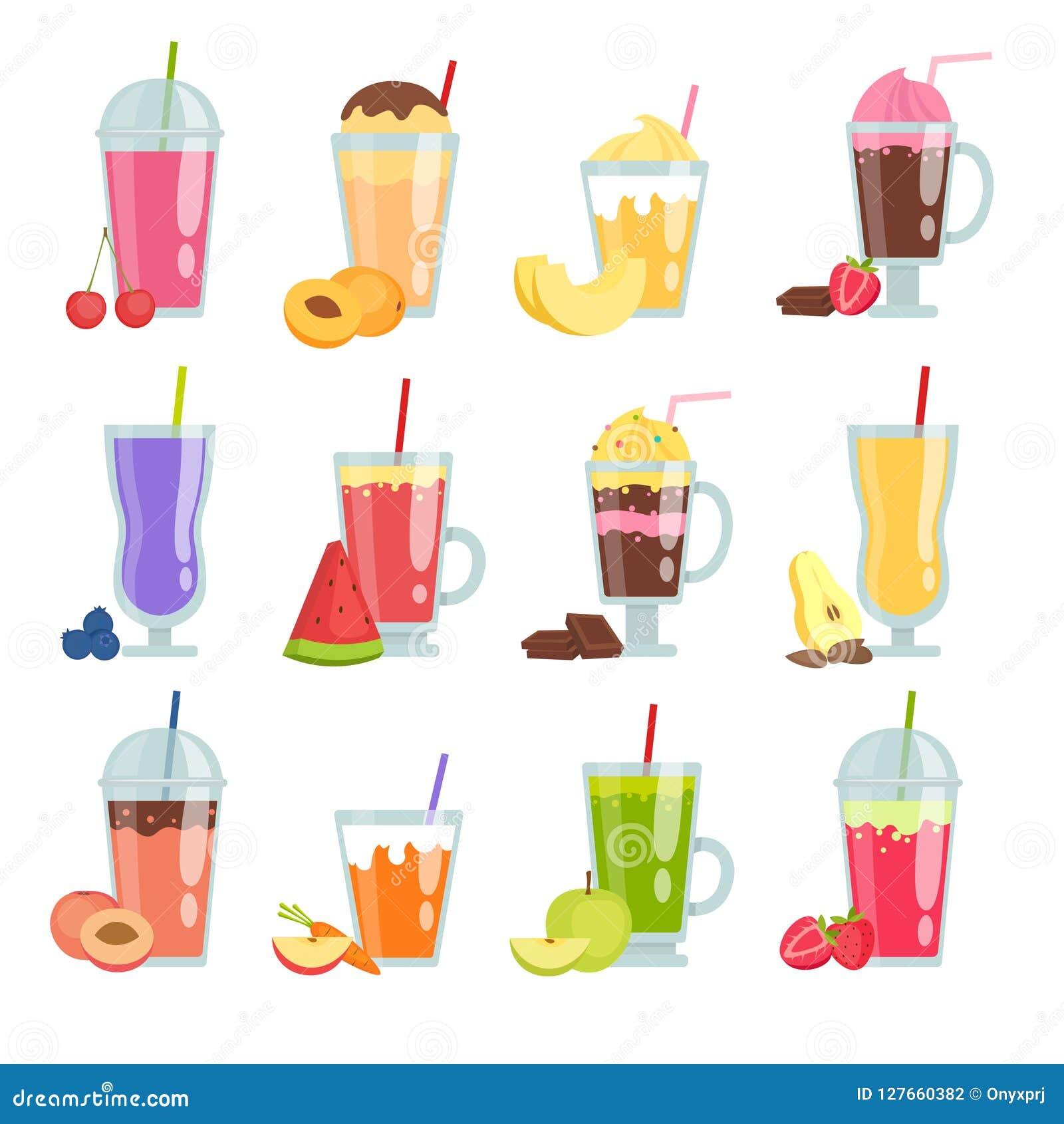 Kreskówki smoothie Różnorodny lato pije smoothie set