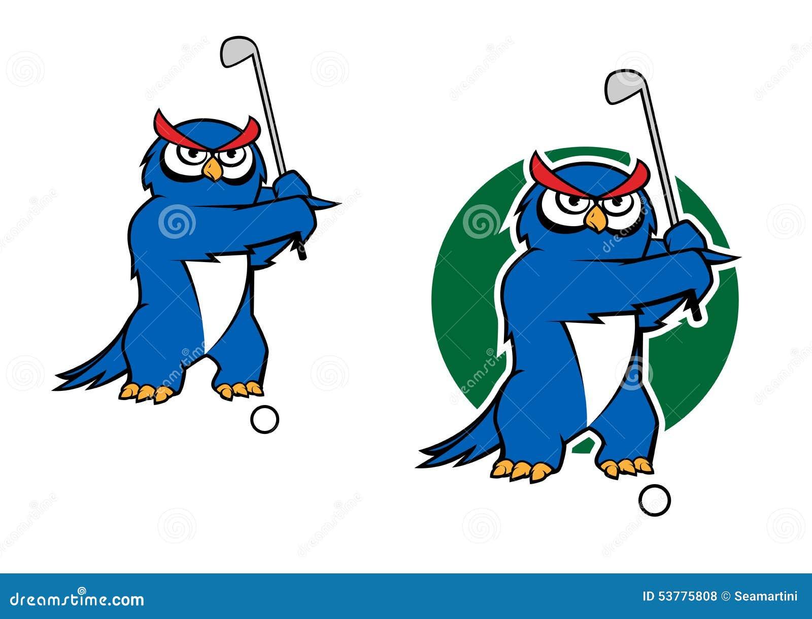 Kreskówki sowy maskotka bawić się golfa