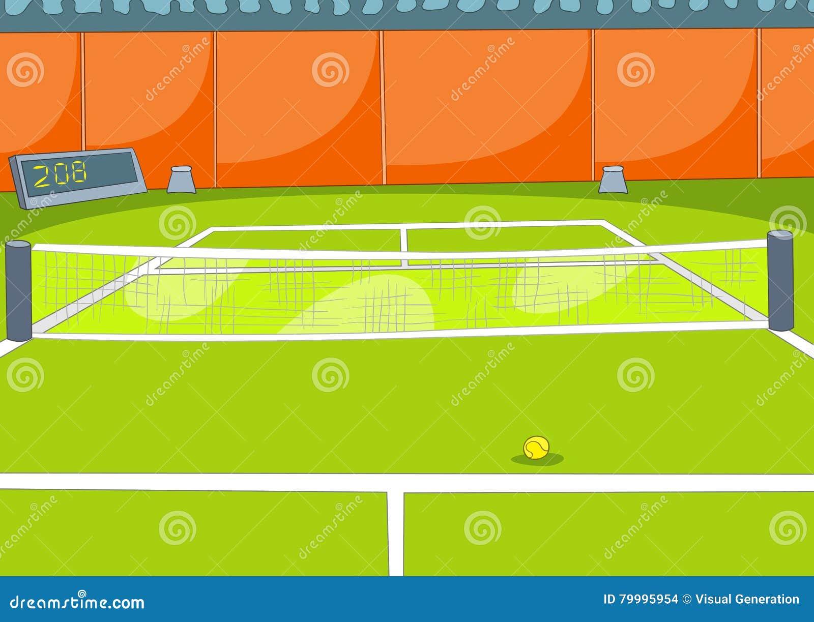 Kreskówki tło tenisowy sąd
