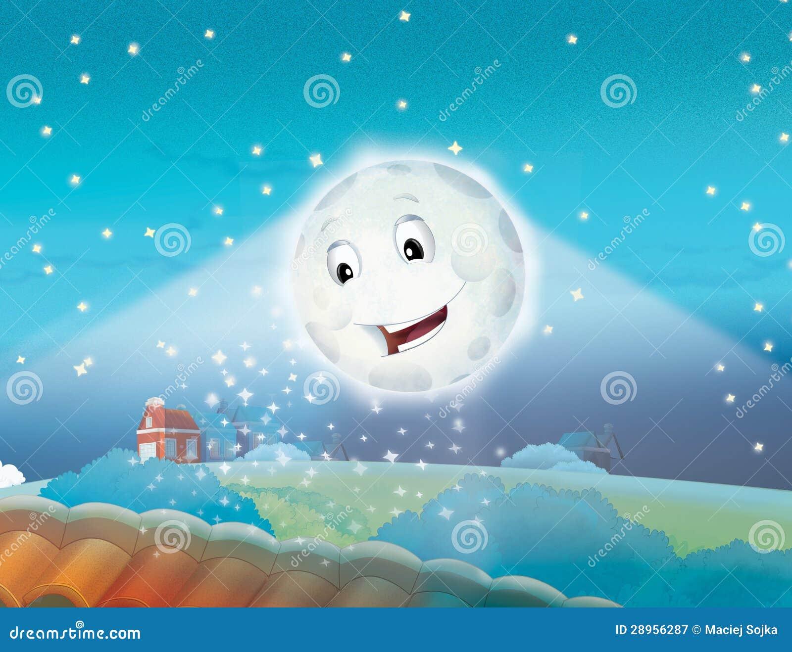 Kreskówki uśmiechnięta księżyc nocą z gwiazdami