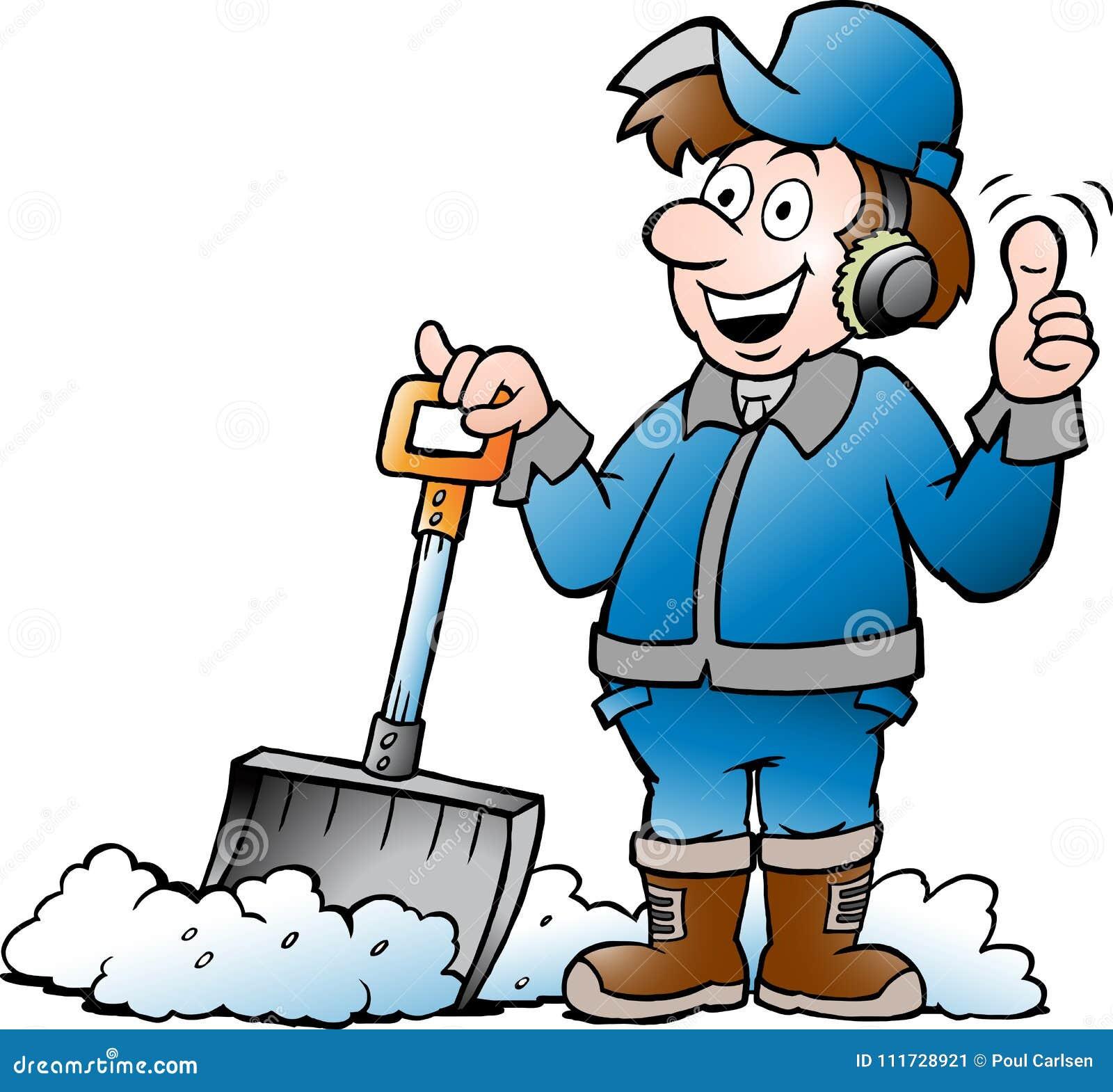 Kreskówki Wektorowa ilustracja Szczęśliwy złota rączka pracownik z jego Śnieżną łopatą