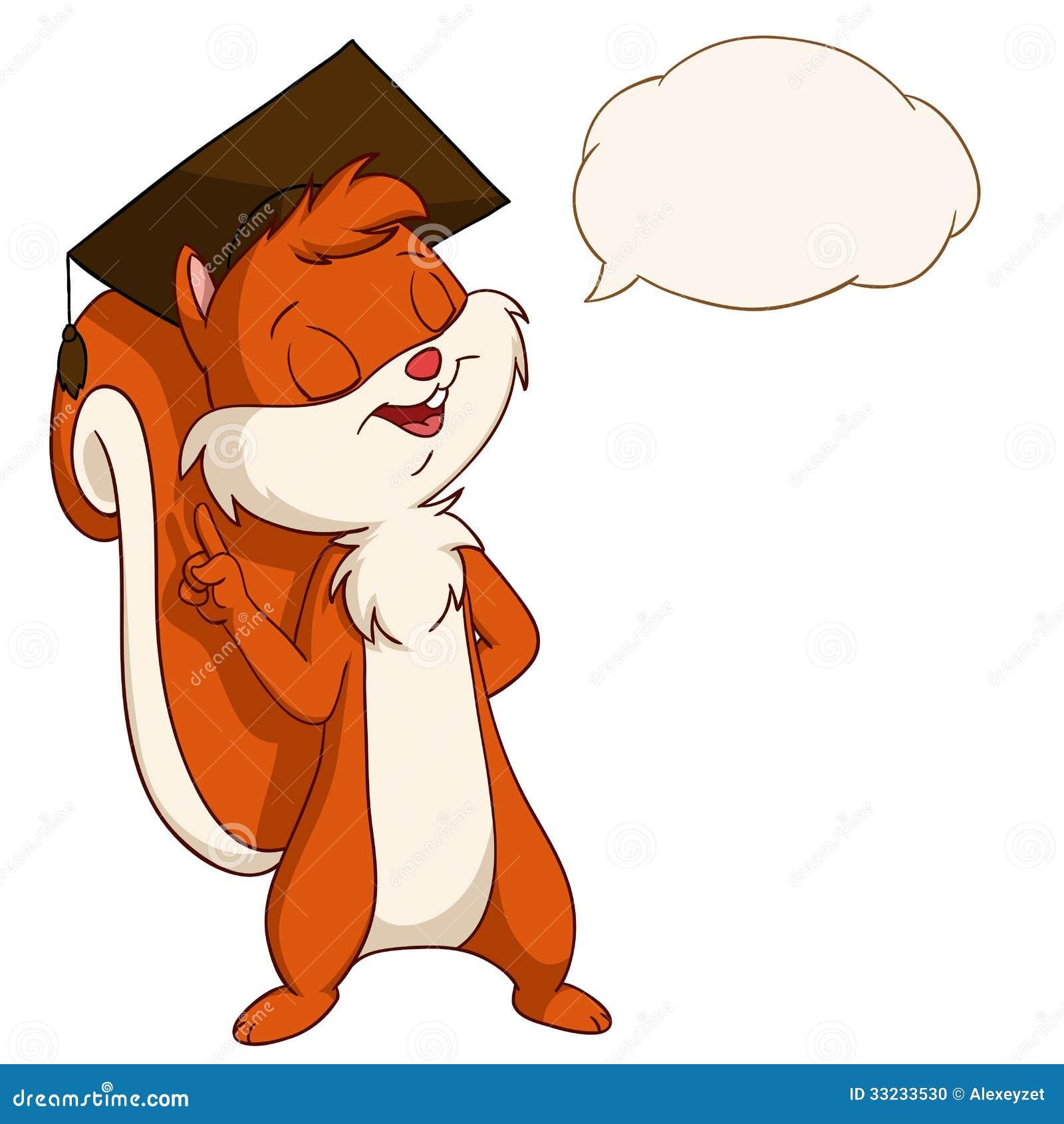 Kreskówki wiewiórka w kończącym studia kapeluszu z rozmowa bąblem
