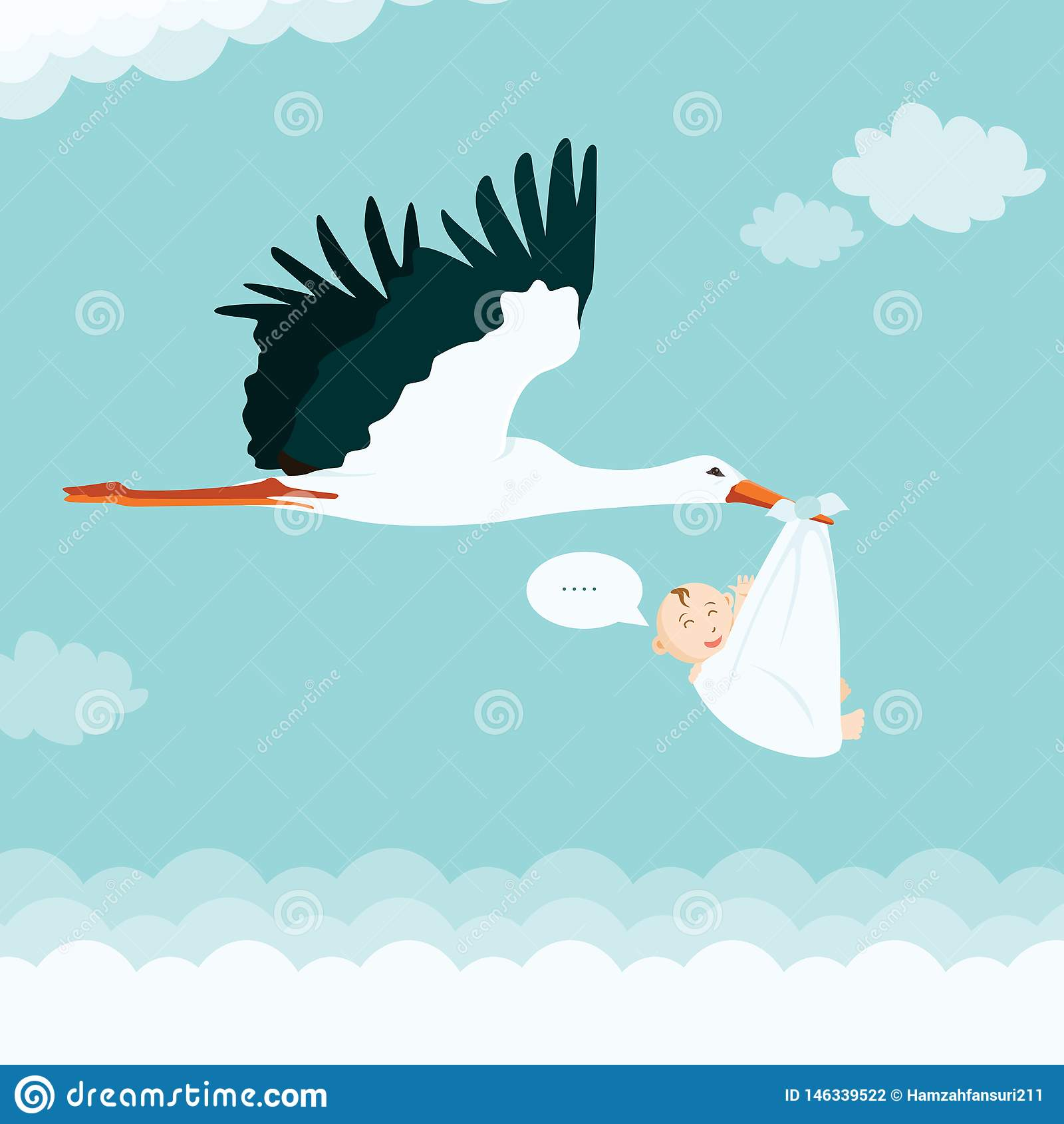 Kresk?wki przewo?enia Bocianowy dziecko Chłopiec dziecka prysznic wektoru Bocianowa ilustracja