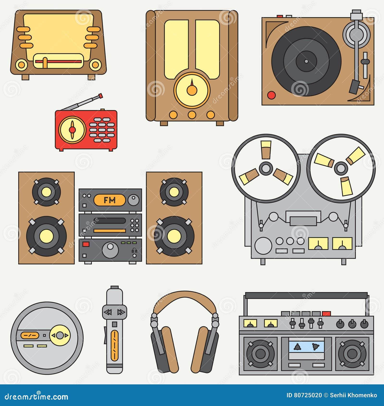 Kreskowa płaska wektorowa ikona ustawiająca z retro elektrycznymi audio przyrządami Analogowy wyemitowany fan muzyki Kreskówka st