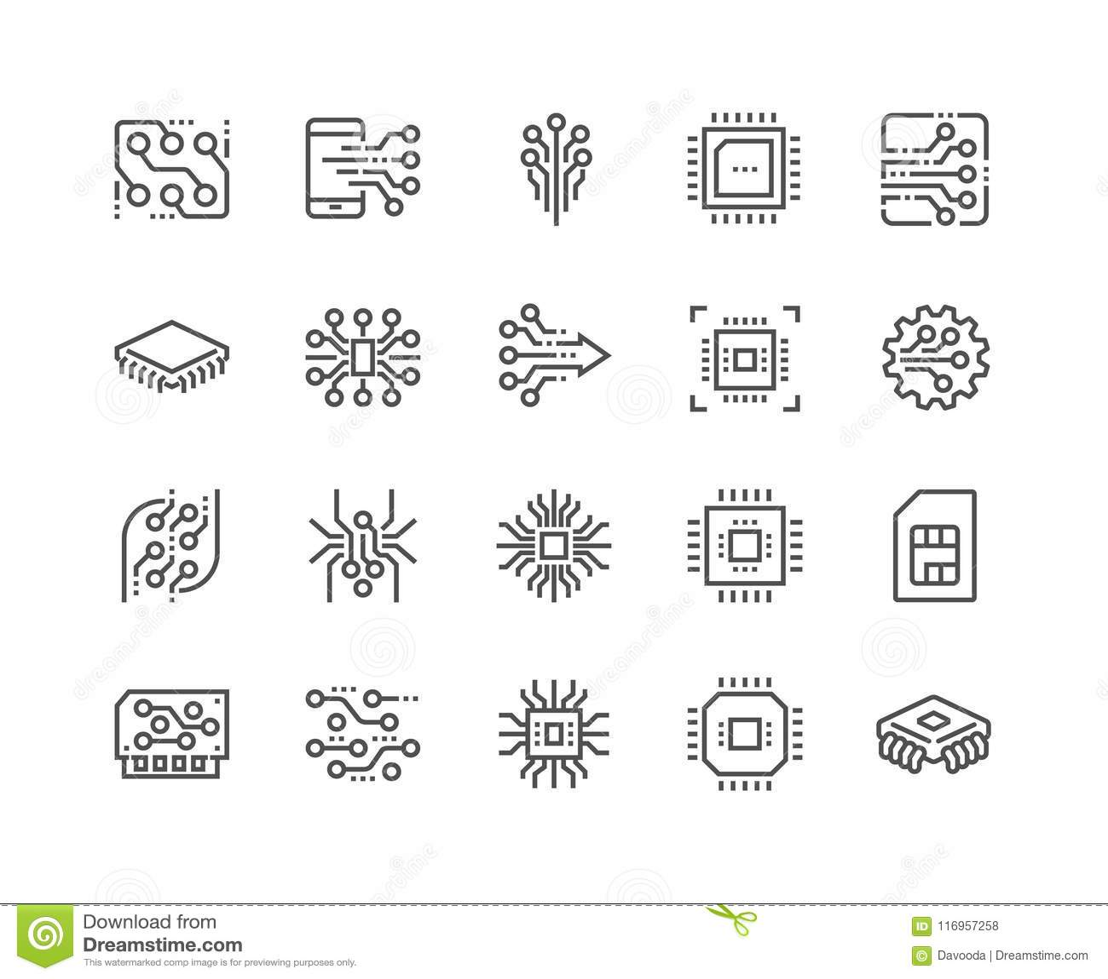 Kreskowe elektronika ikony