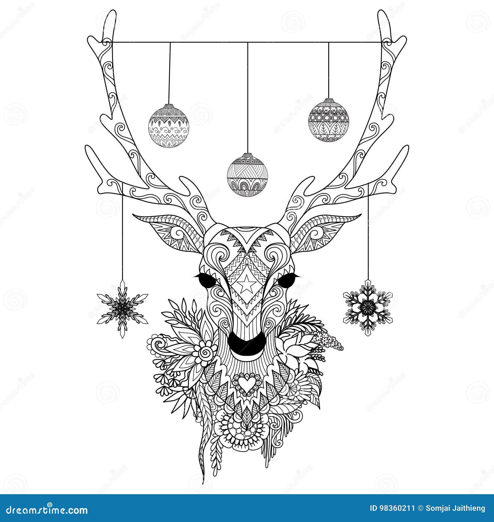 Kreskowej sztuki projekt Bożenarodzeniowa rogacz głowa z dekoracyjnymi piłkami, płatki śniegu i kwiaty również zwrócić corel ilus