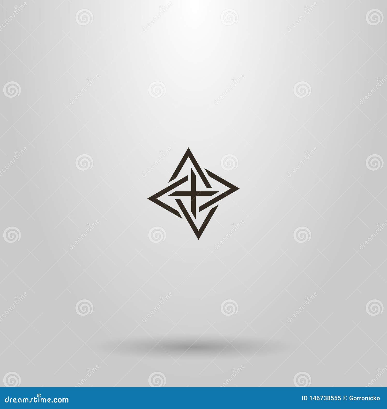 Kreskowej sztuki wektoru znak cztery przeplatał trójboki wskazuje różnych kierunki
