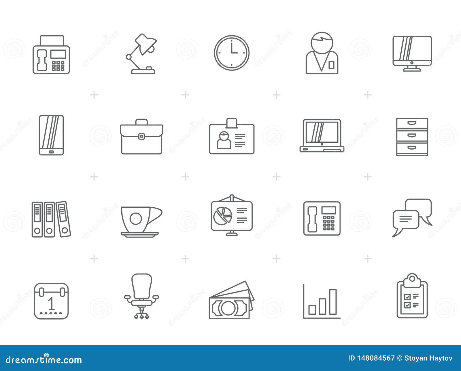 Kreskowy biznes i biuro, wyposażenie ikony