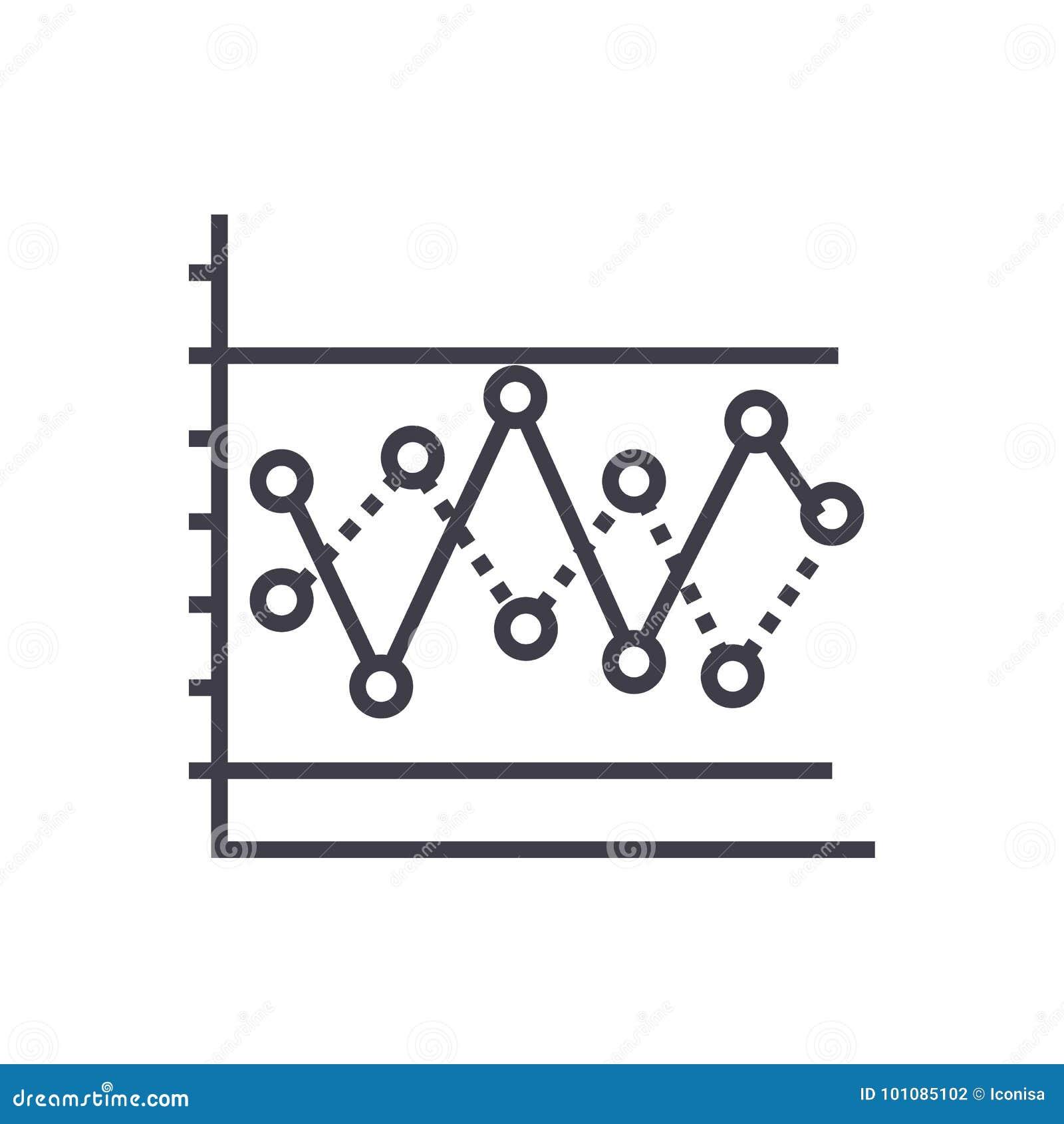 Kreskowy wykres z punktu wektoru linii ikoną, znak, ilustracja na tle, editable uderzenia