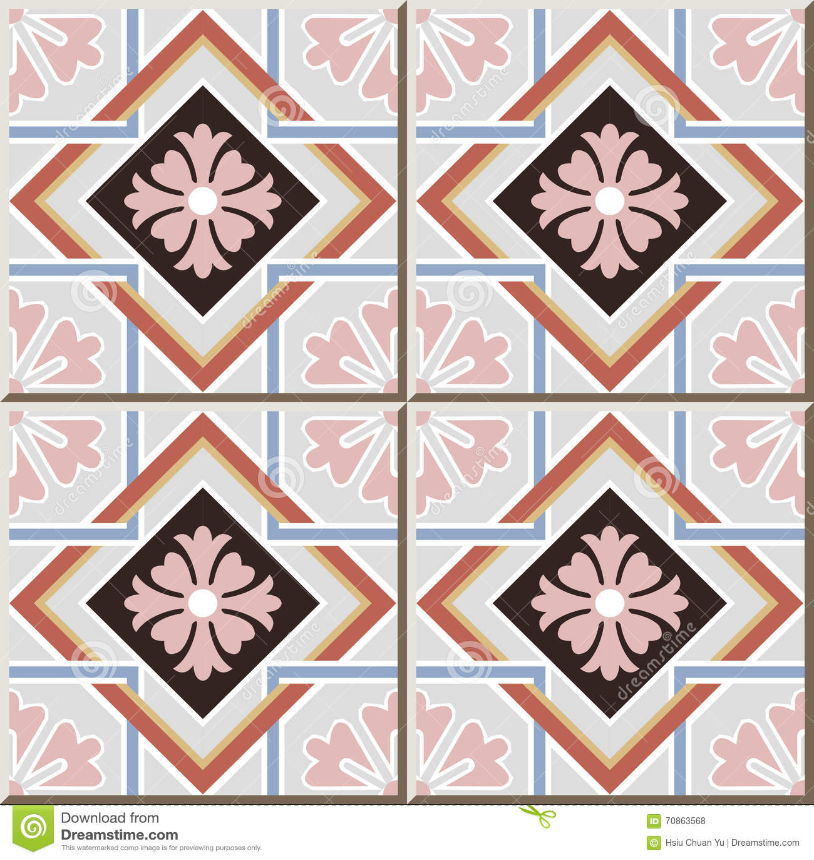 Kreuzrahmen-Blumengeometrie Des Keramikziegelmusters 343 ...