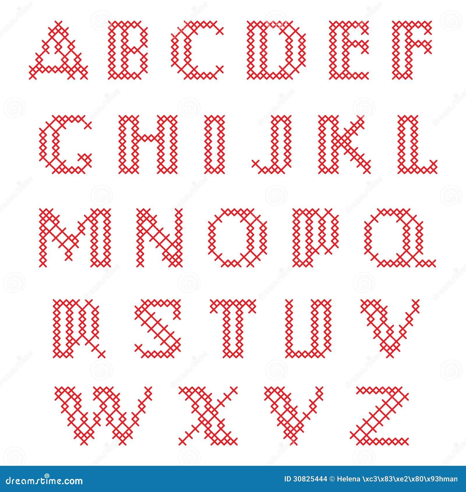 Kreuzstich alphabet vektor abbildung illustration von ober 30825444 - Vorlagen kreuzstich ...