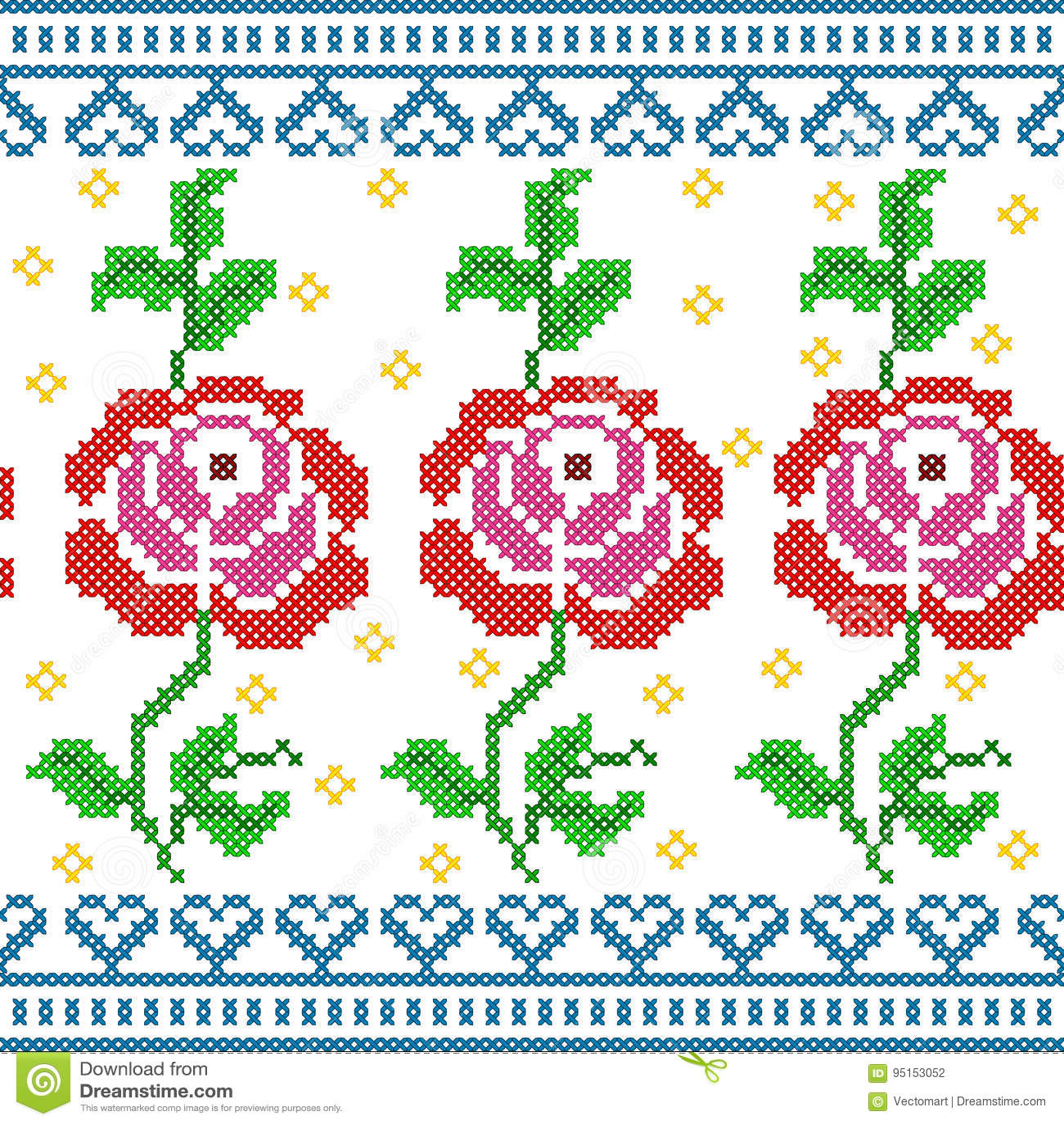 Kreuzstich-Stickerei-Rose Floral-Design für nahtlose Musterbeschaffenheit