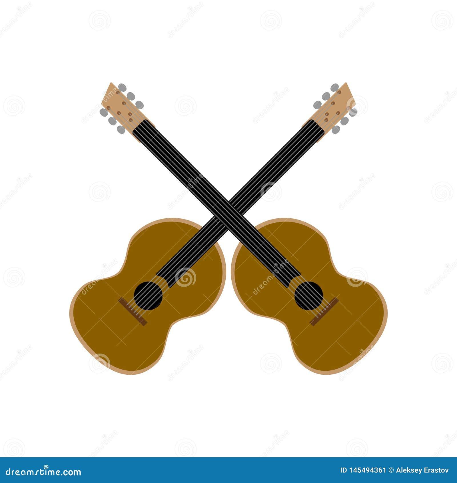 Kreuzweise Akustikgitarren lokalisiert auf wei?em Hintergrund Auch im corel abgehobenen Betrag