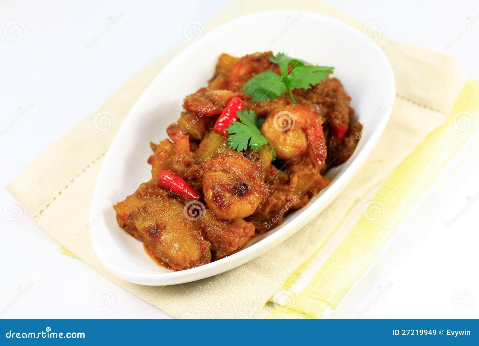 Krewetki Curry ego azjatykci naczynie
