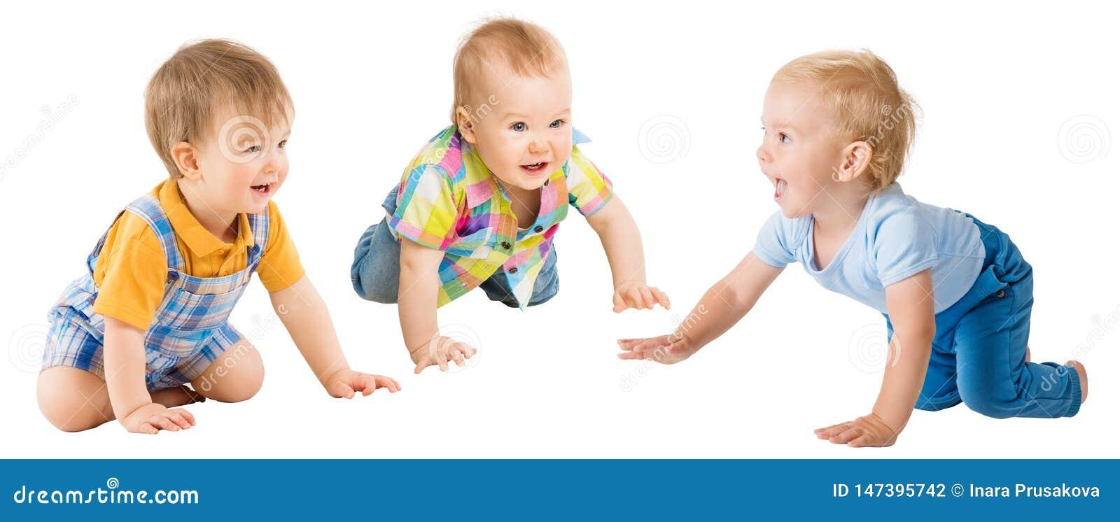 Kriechende Baby-Jungen, Säuglingskindergruppen-Schleichen auf allen fours, Kleinkind-Kinder auf Weiß