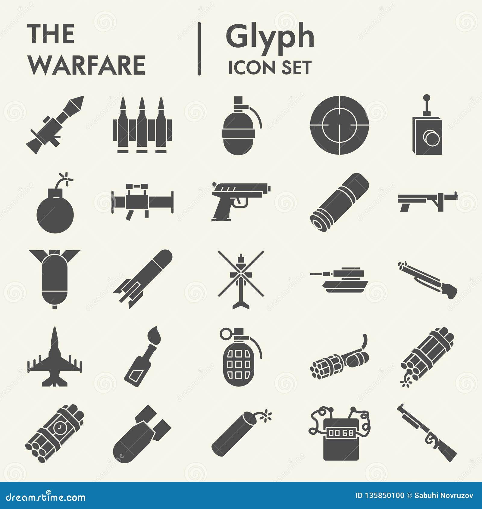 Kriegsführung Glyph-Ikonensatz, Waffensymbole Sammlung, Vektorskizzen, Logoillustrationen, feste Piktogramme der Waffenzeichen
