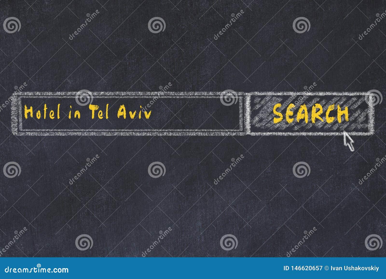 Krijtschets van zoekmachine Concept het zoeken van en het boeken van een hotel in Tel Aviv