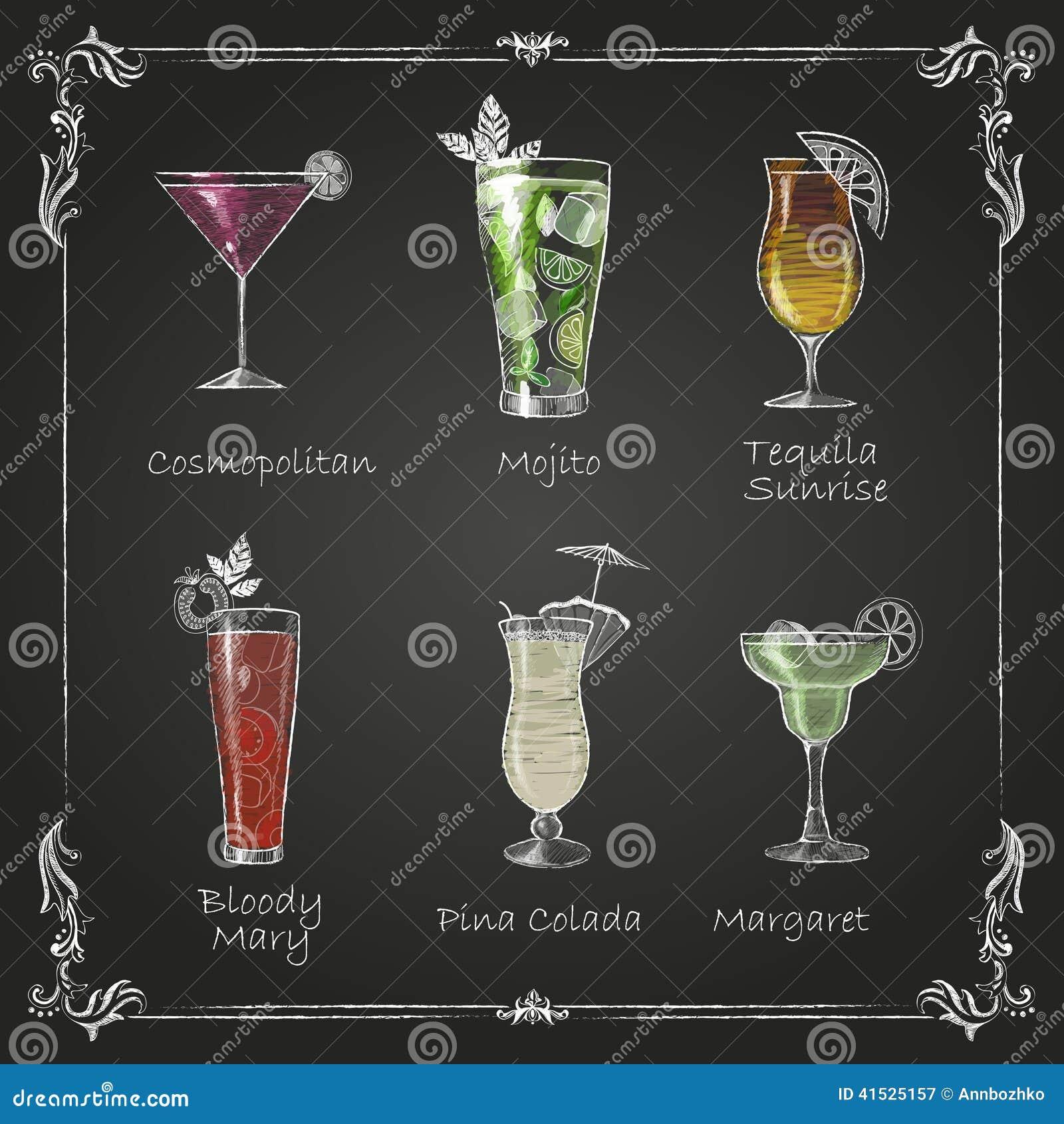 Krijttekeningen cocktailmenu