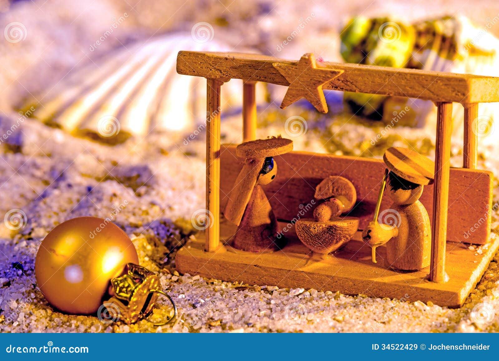 Krippe auf einem Strand stockbild. Bild von hölzern, szene - 34522429