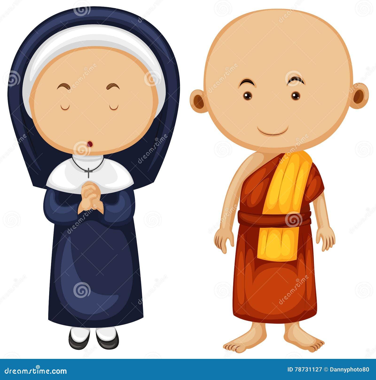 Kristen nunna och buddistisk munk