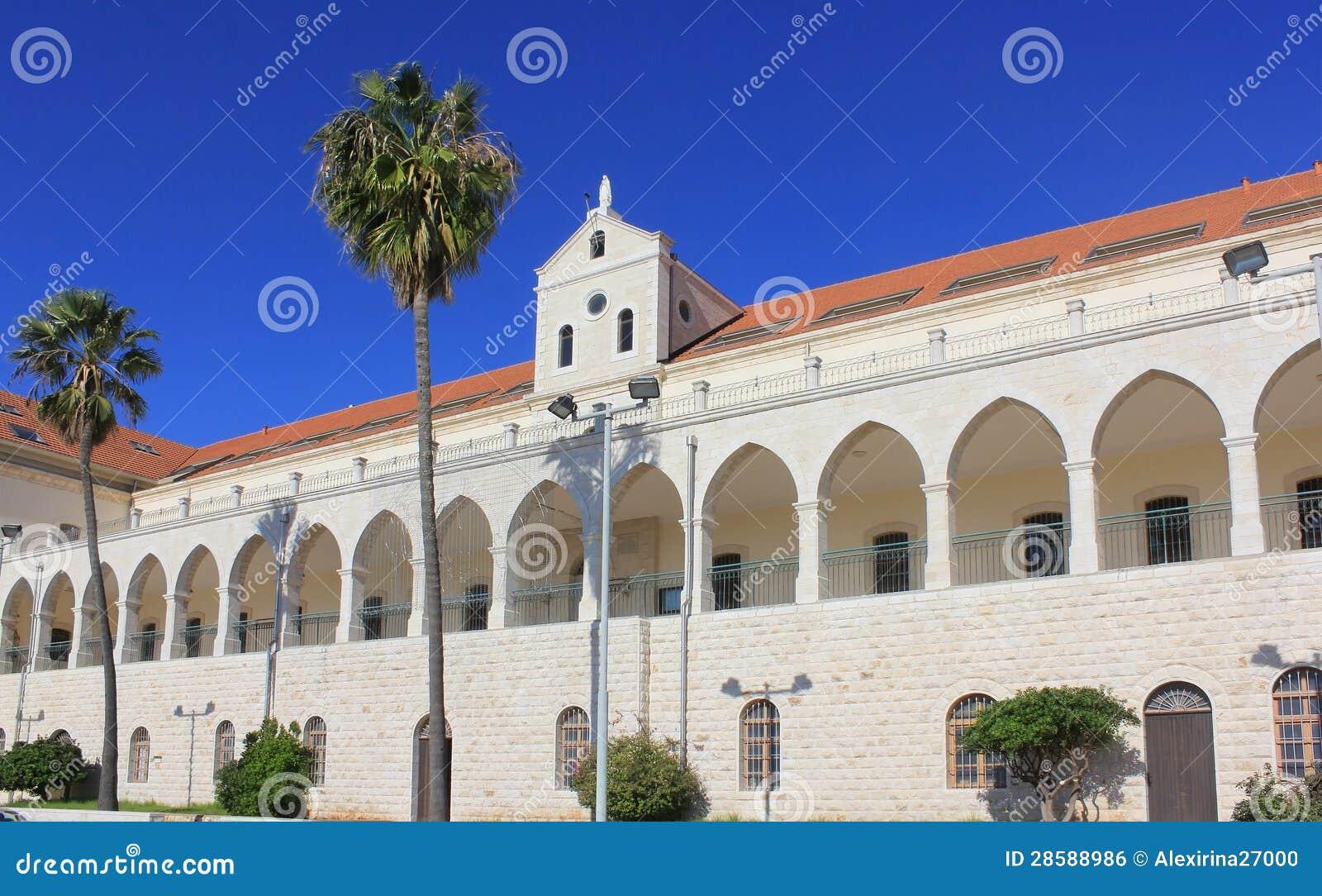 Kristen skolar och den Salesian kyrkan i Nazareth, Israel
