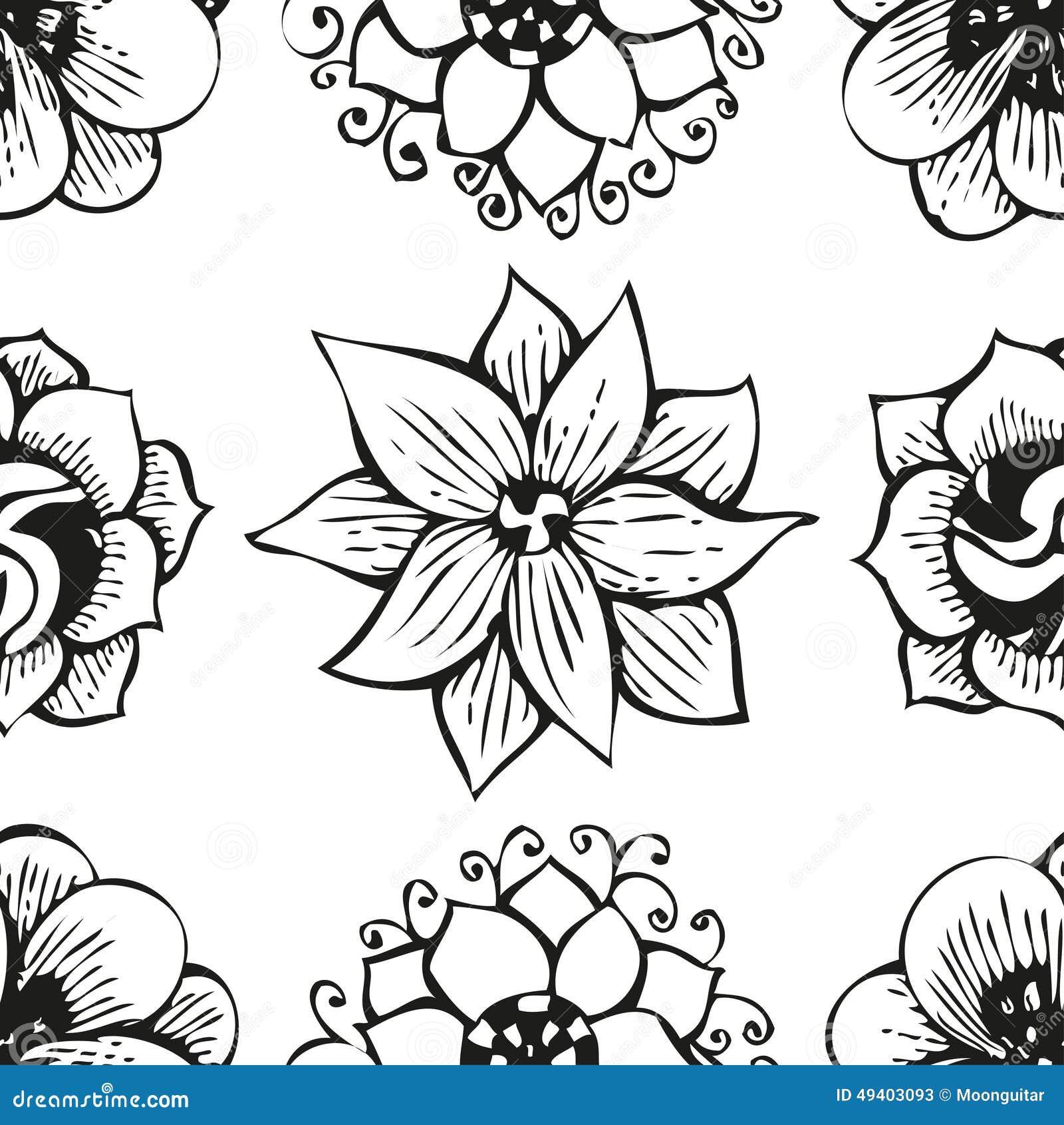 Download Kritzelndes Nahtloses Blumenmuster Der Blume In Der Tätowierung Vektor Abbildung - Illustration von element, dekoration: 49403093