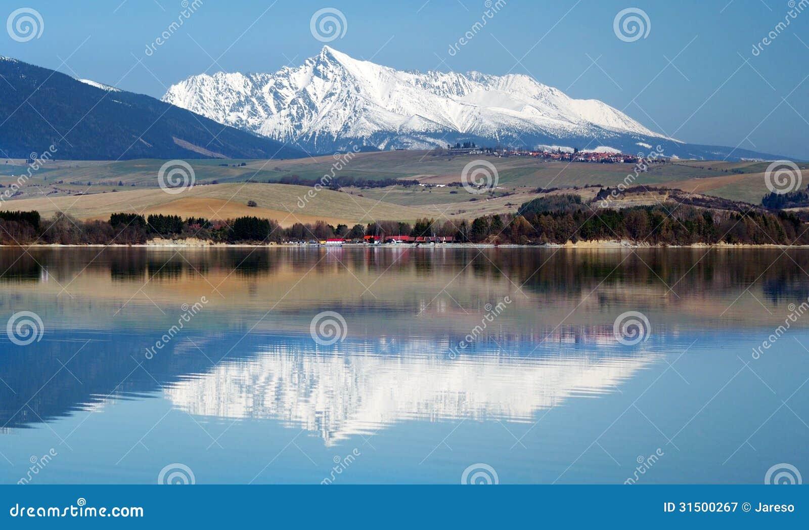Krivan peak reflected in Liptovska Mara