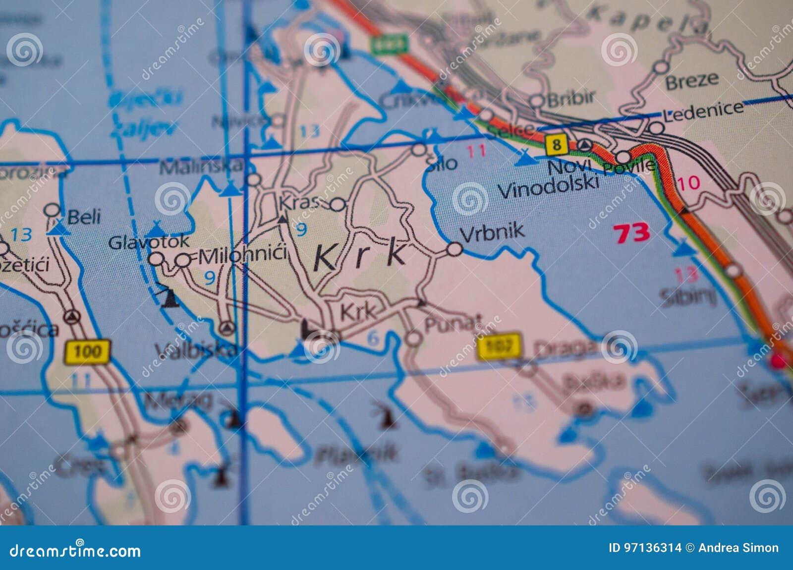 Krk Insel Auf Karte Stockfoto Bild Von Abschluss Diagramm 97136314