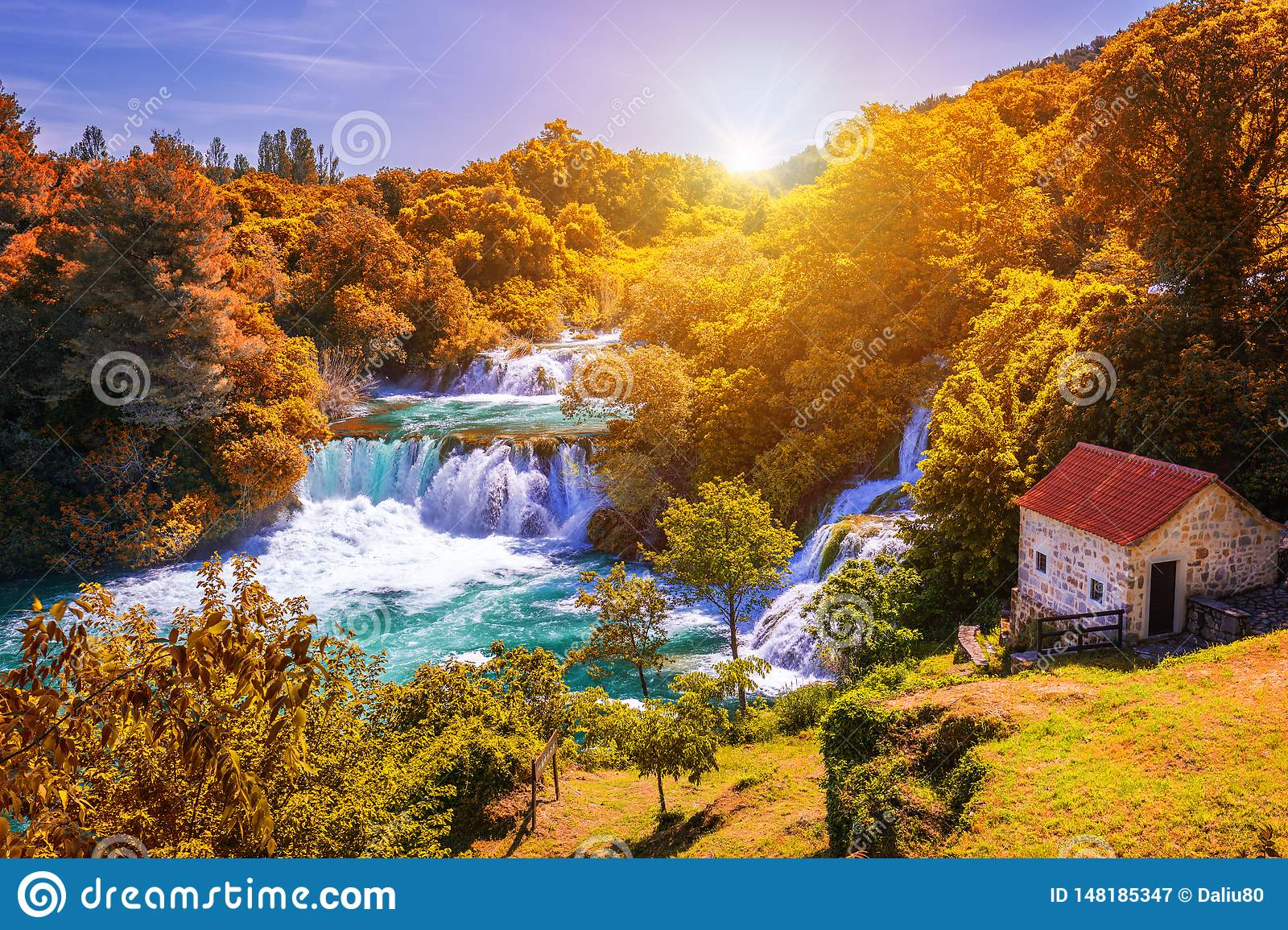 Krka national park with autumn colors of trees, famous travel destination in Dalmatia of Croatia. Krka waterfalls in the Krka